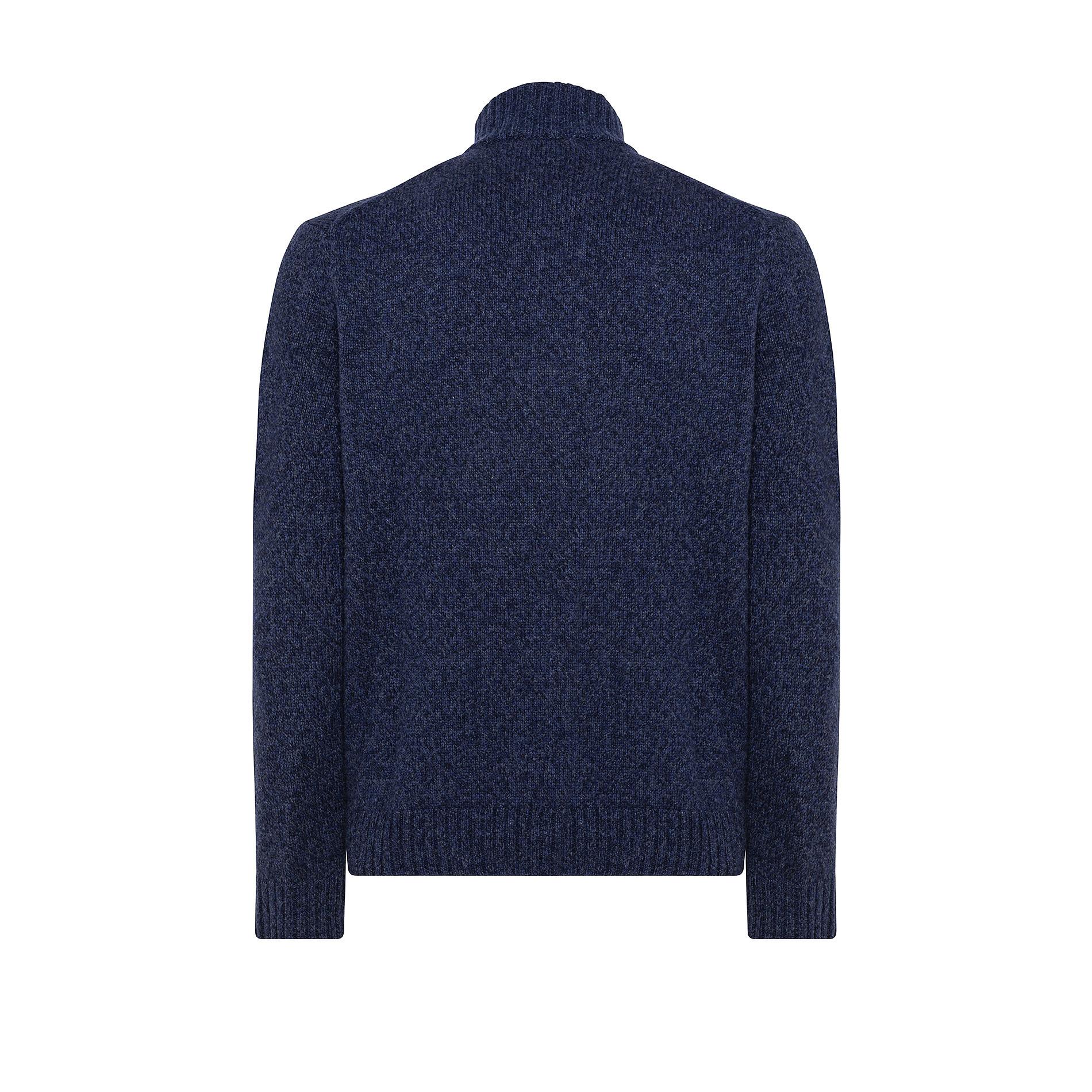 Pullover collo alto lavorazione mouliné, Blu, large image number 1