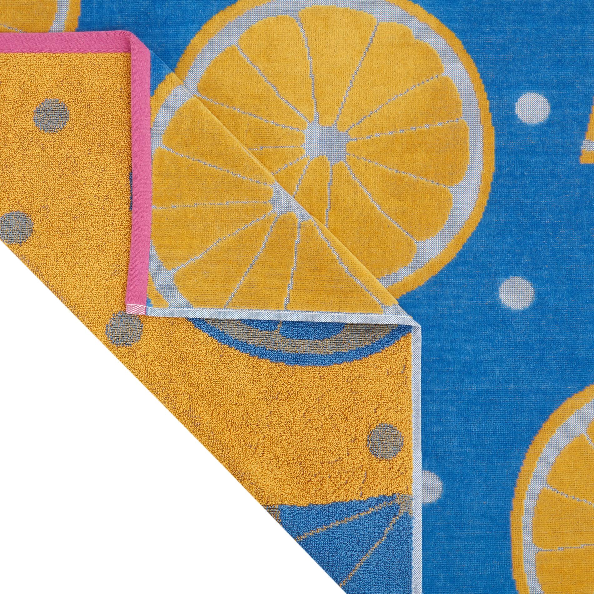 Telo mare in spugna di cotone motivo arance, Azzurro, large image number 1