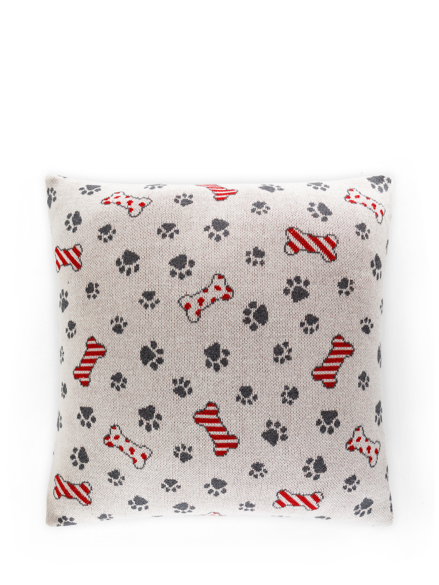 Cuscino maglia di cotone motivo zampette, Beige chiaro, large image number 0
