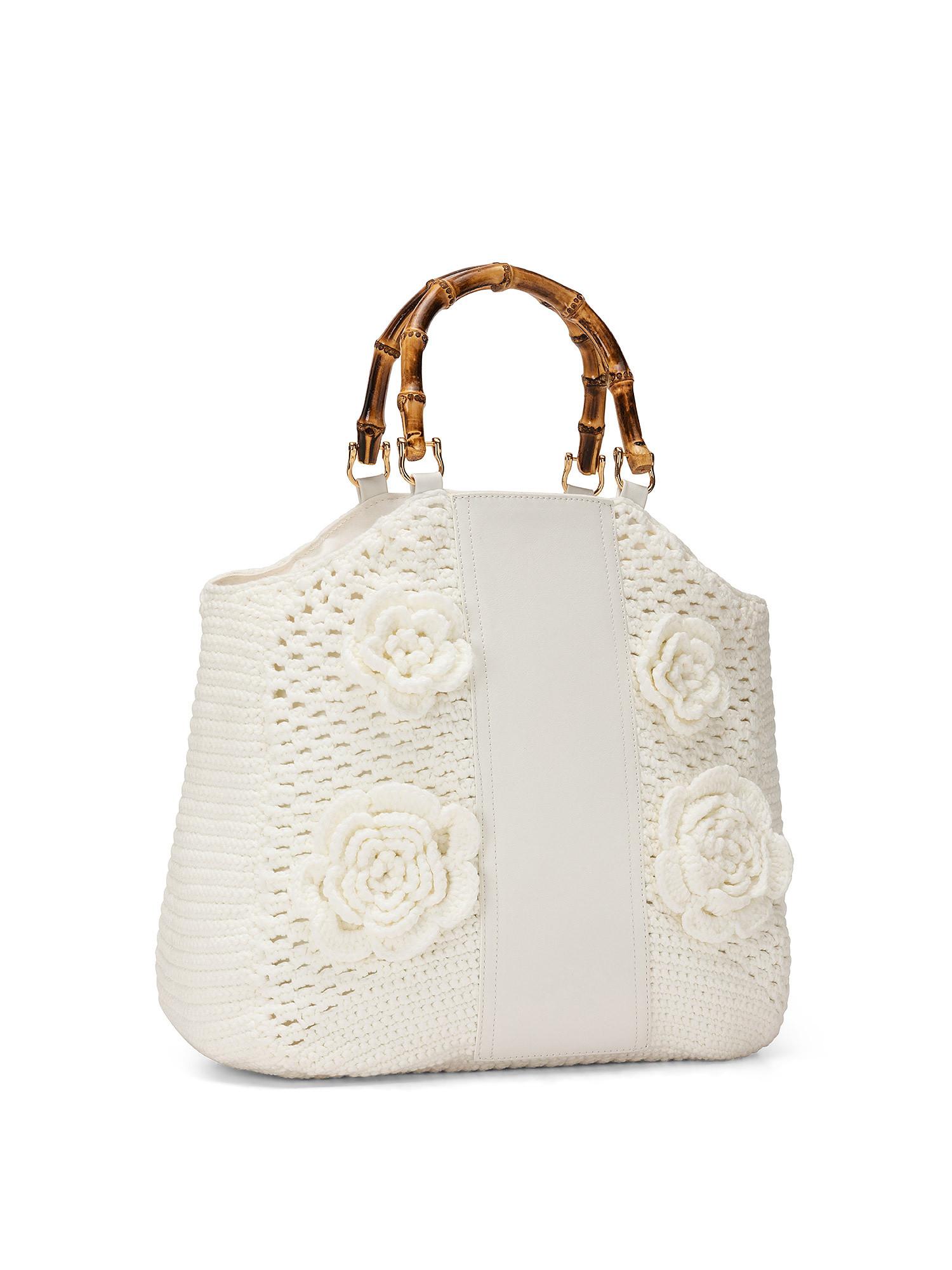 Shopper Crochet con applicazioni, Bianco, large image number 1