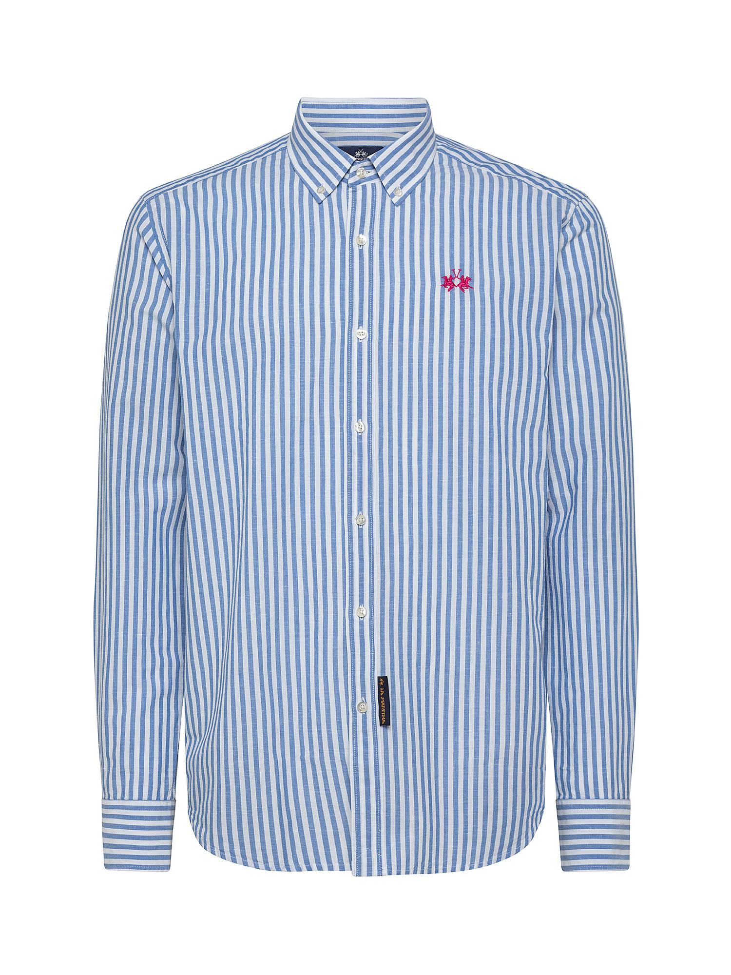 Camicia da uomo in misto lino e cotone regular fit, Bianco, large image number 0
