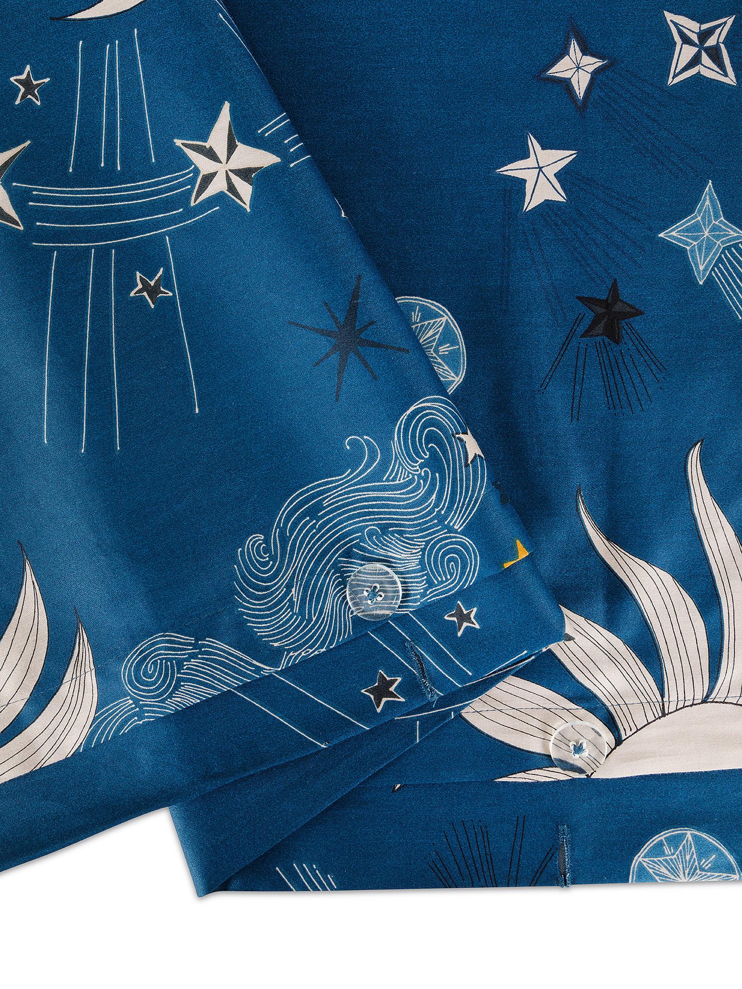 Copripiumino raso di cotone fantasia sole e luna, Blu, large image number 2