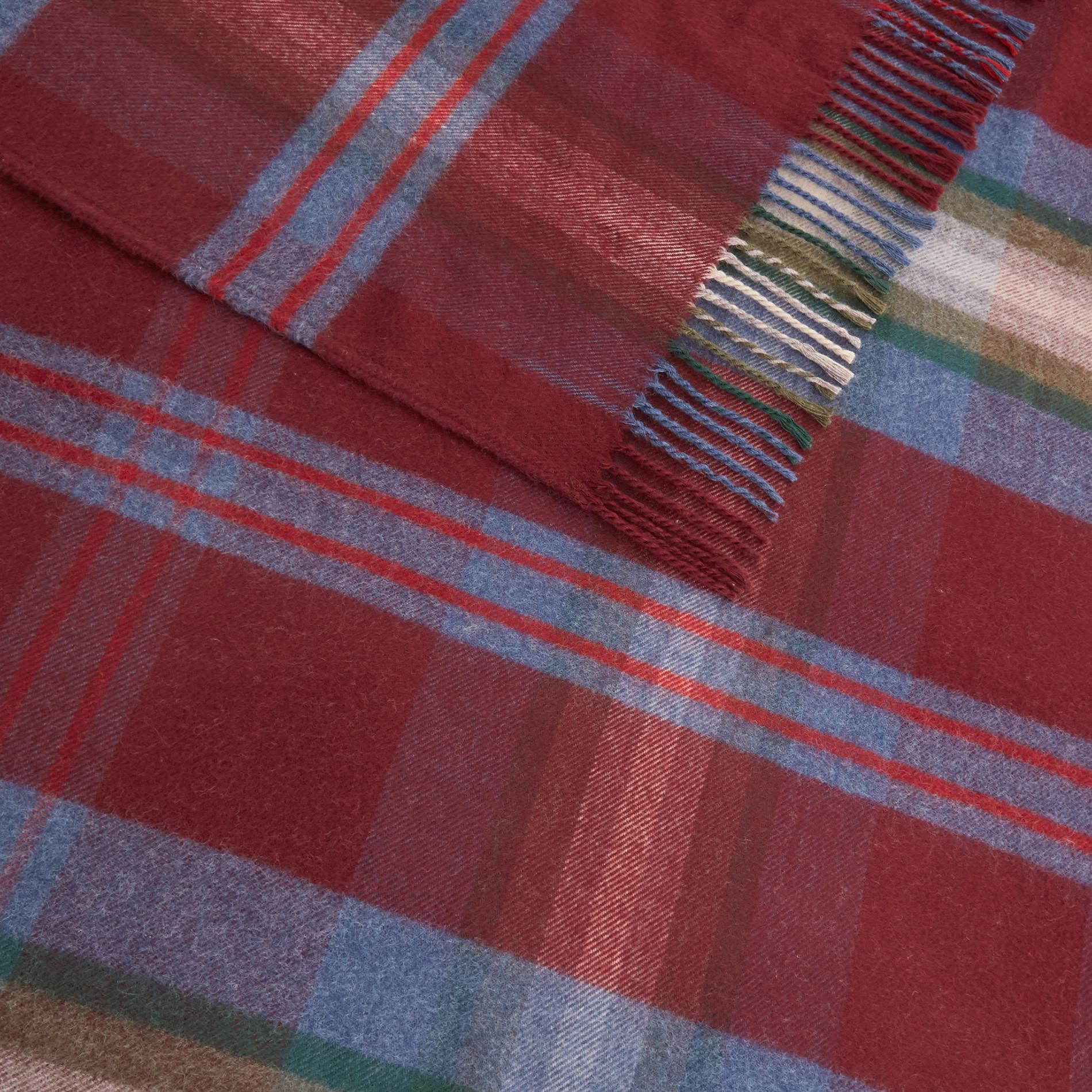 Plaid tessuto a quadri con frange, Blu, large image number 1