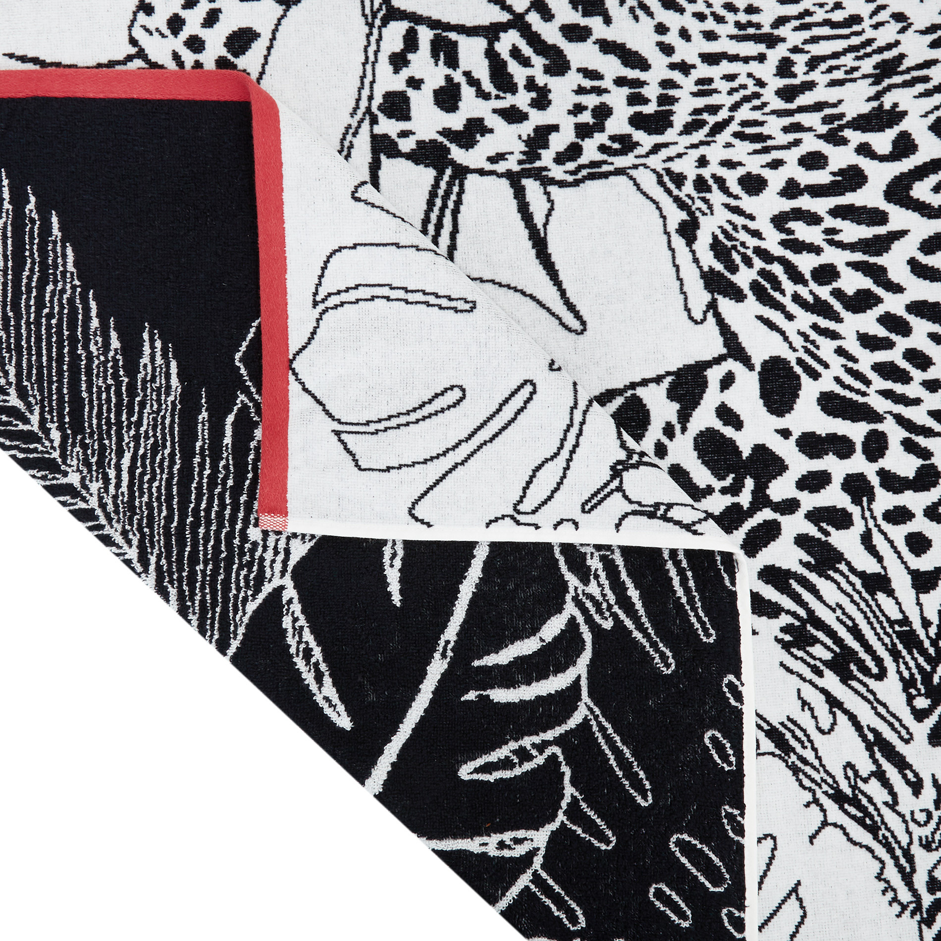 Telo mare cotone velour motivo animalier, Bianco, large image number 1
