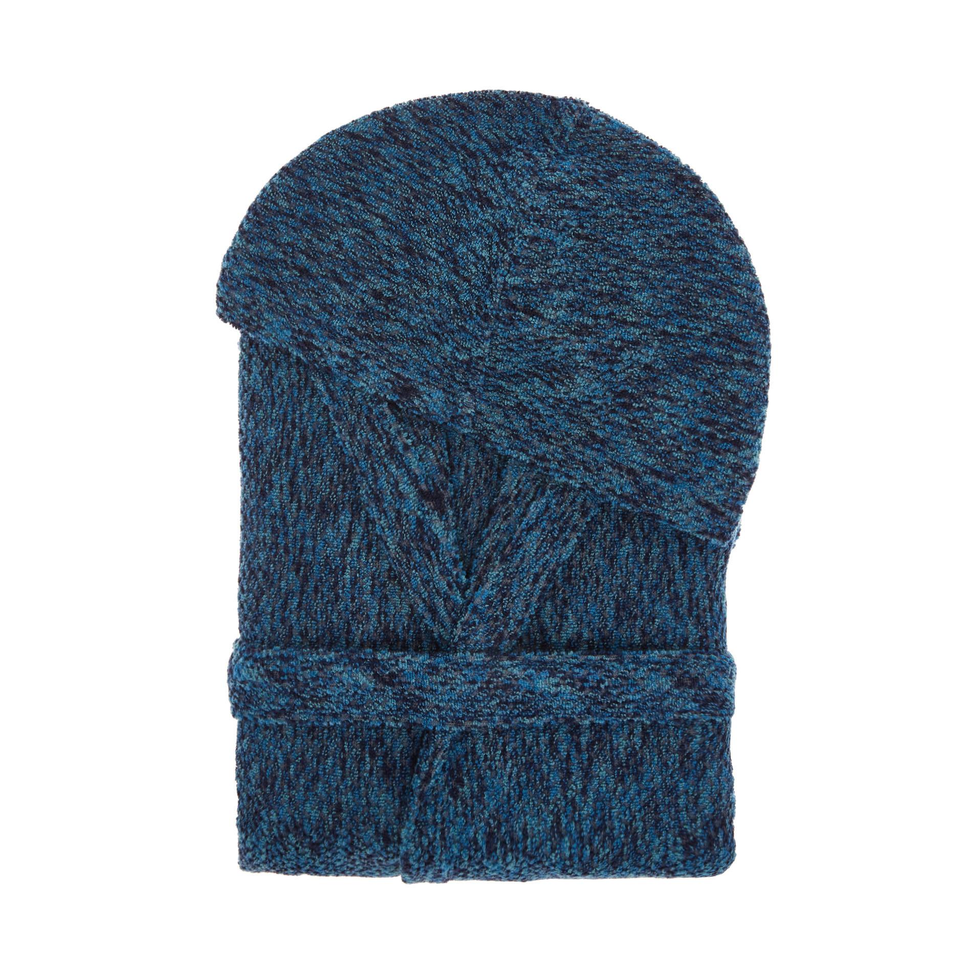 Accappatoio spugna di cotone effetto melange, Blu, large image number 0