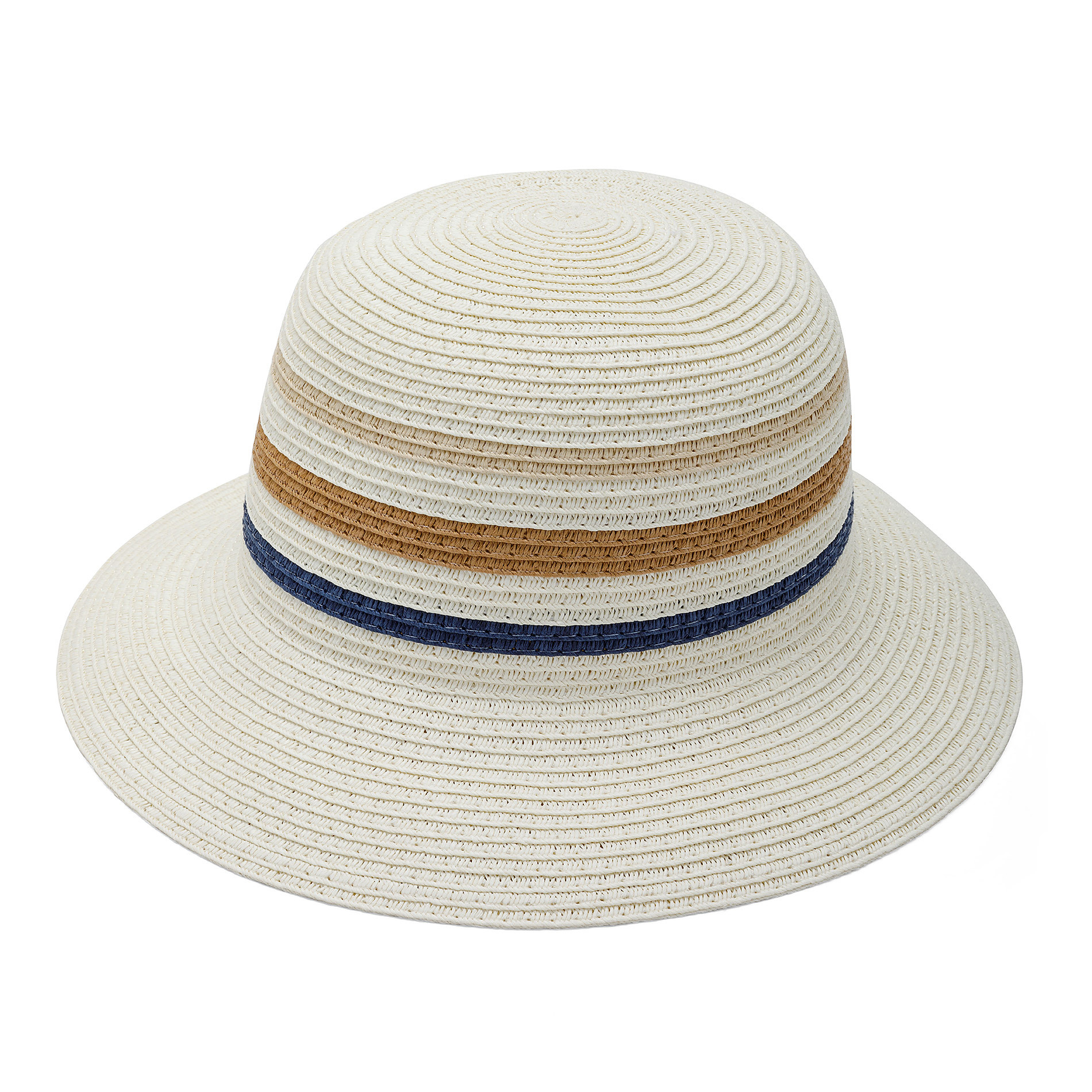 Cappello di paglia a tre righe Koan, Blu, large image number 0
