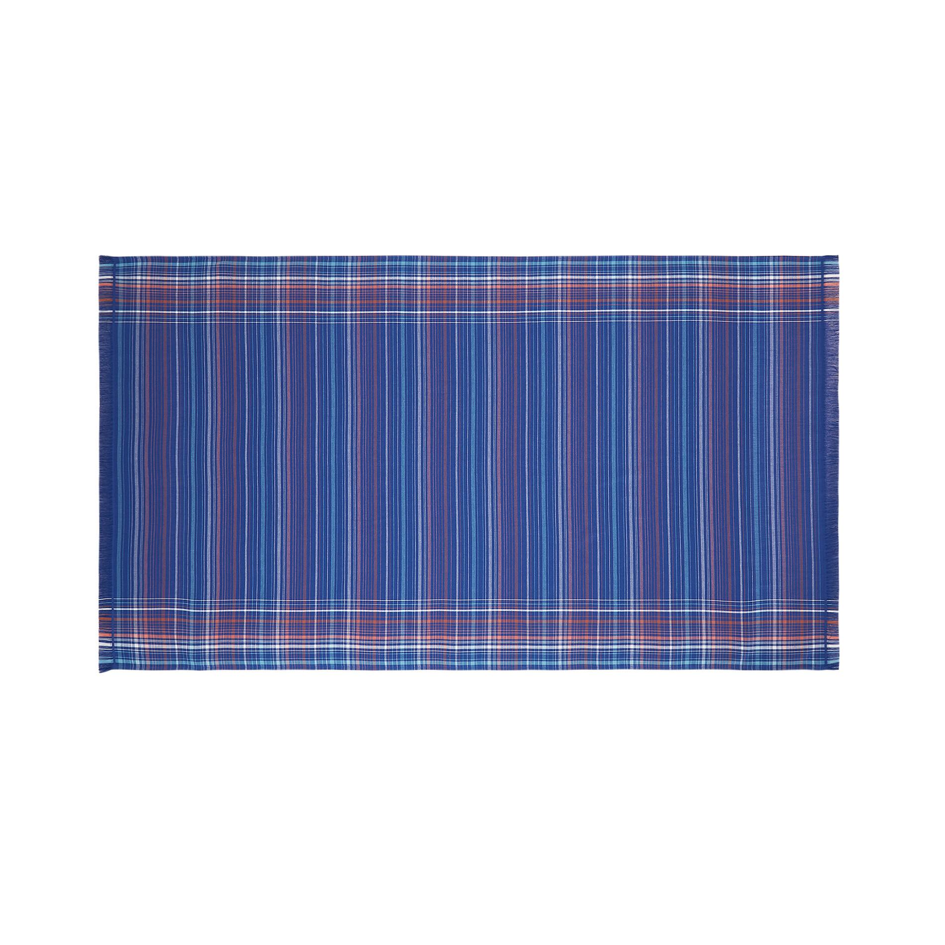 Telo mare hammam cotone tinto filo a righe, Blu, large image number 0
