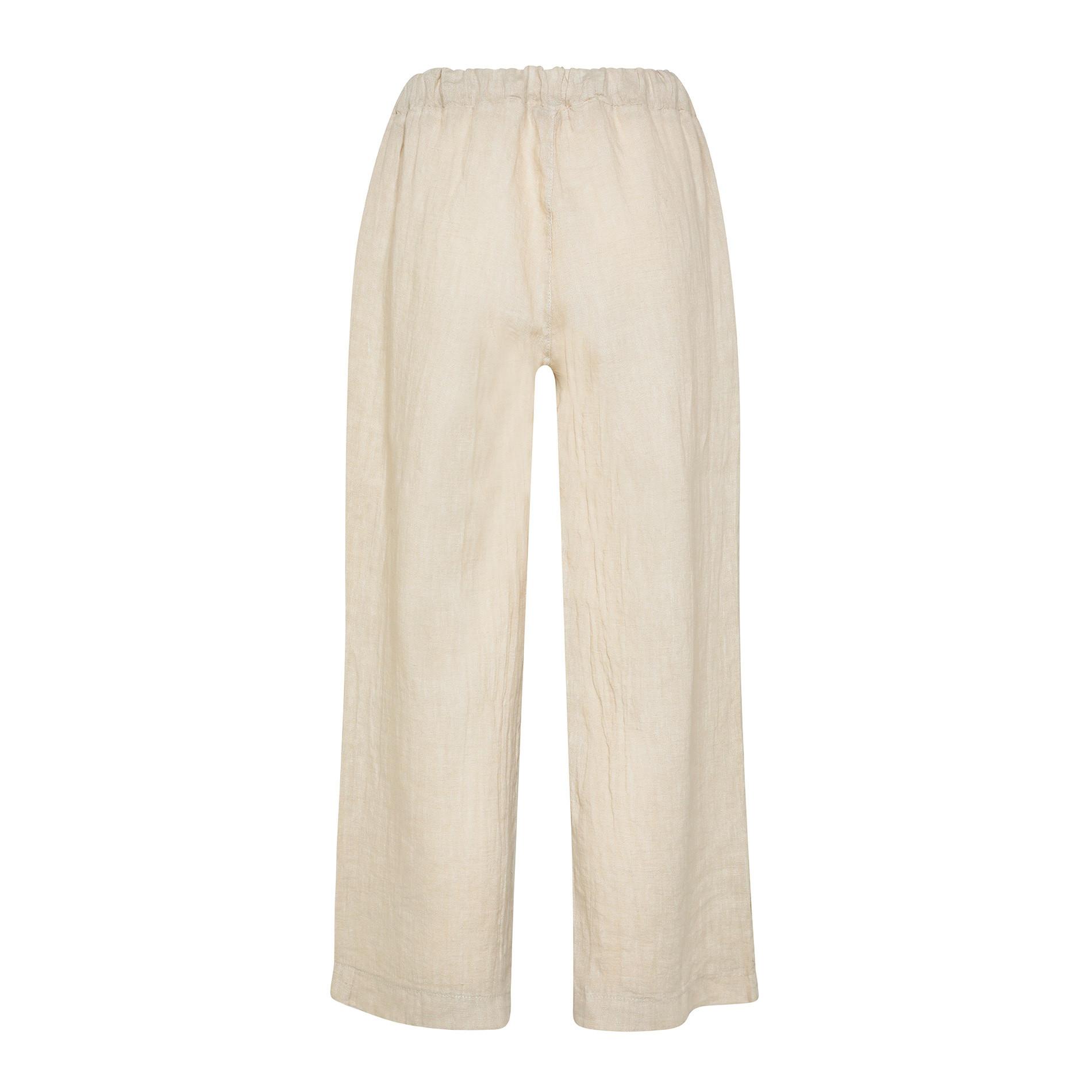 Pantalone ampio in puro lino tinta unita, Beige, large image number 1