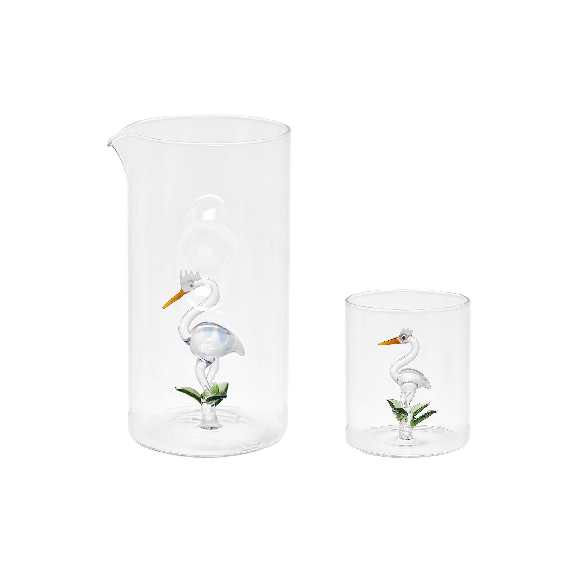 Bicchiere vetro dettaglio airone, Trasparente, large image number 2