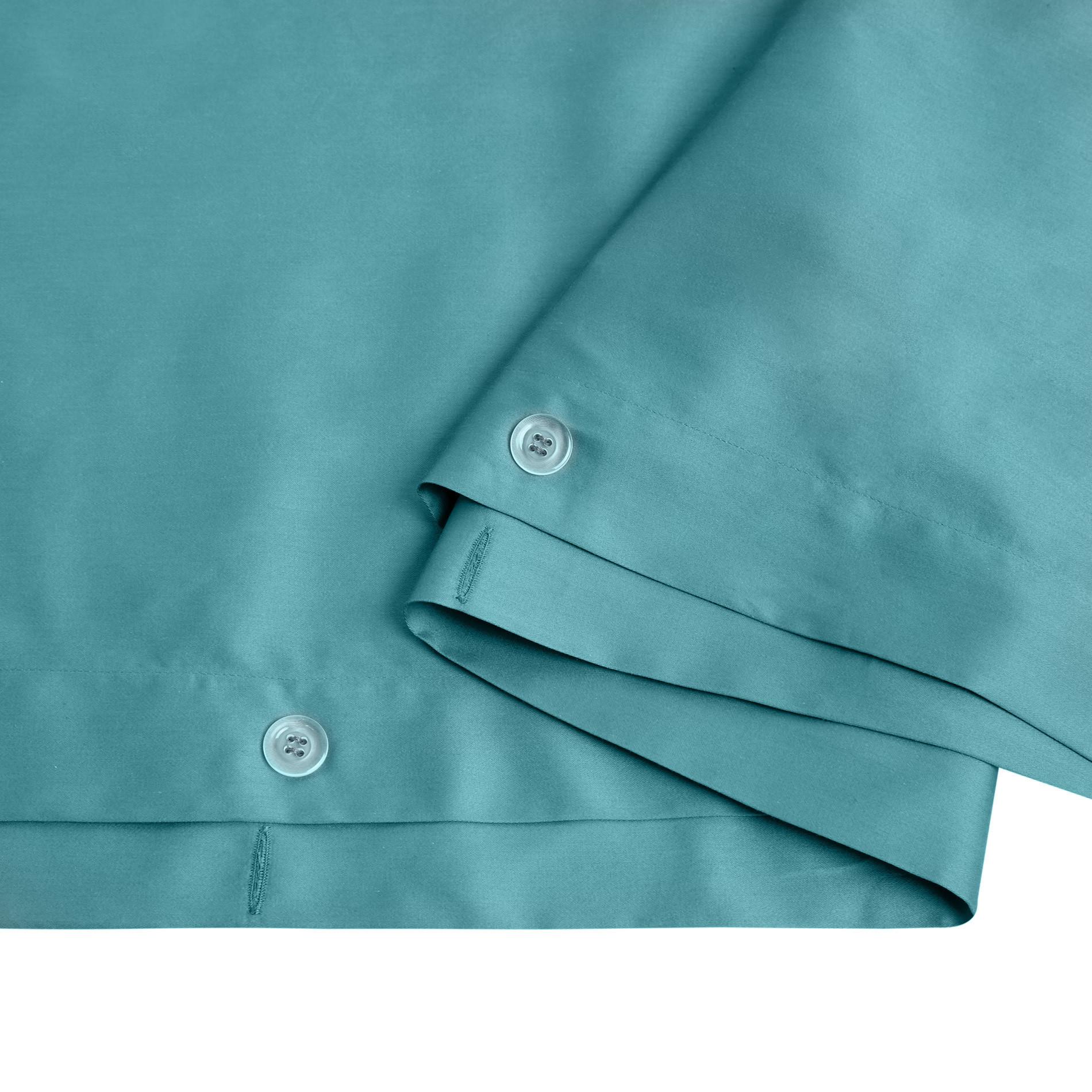 Parure copripiumino raso di puro cotone Zefiro, Verde ottanio, large image number 1
