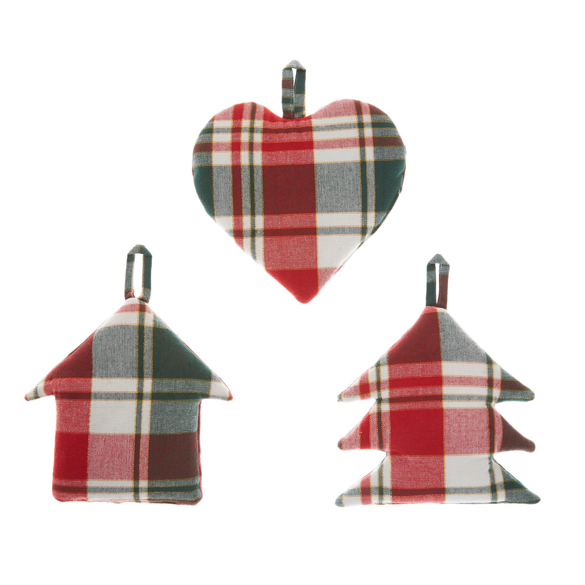 Set 3 decorazioni twill di cotone tartan e fili lurex, Verde/Rosso, large image number 0