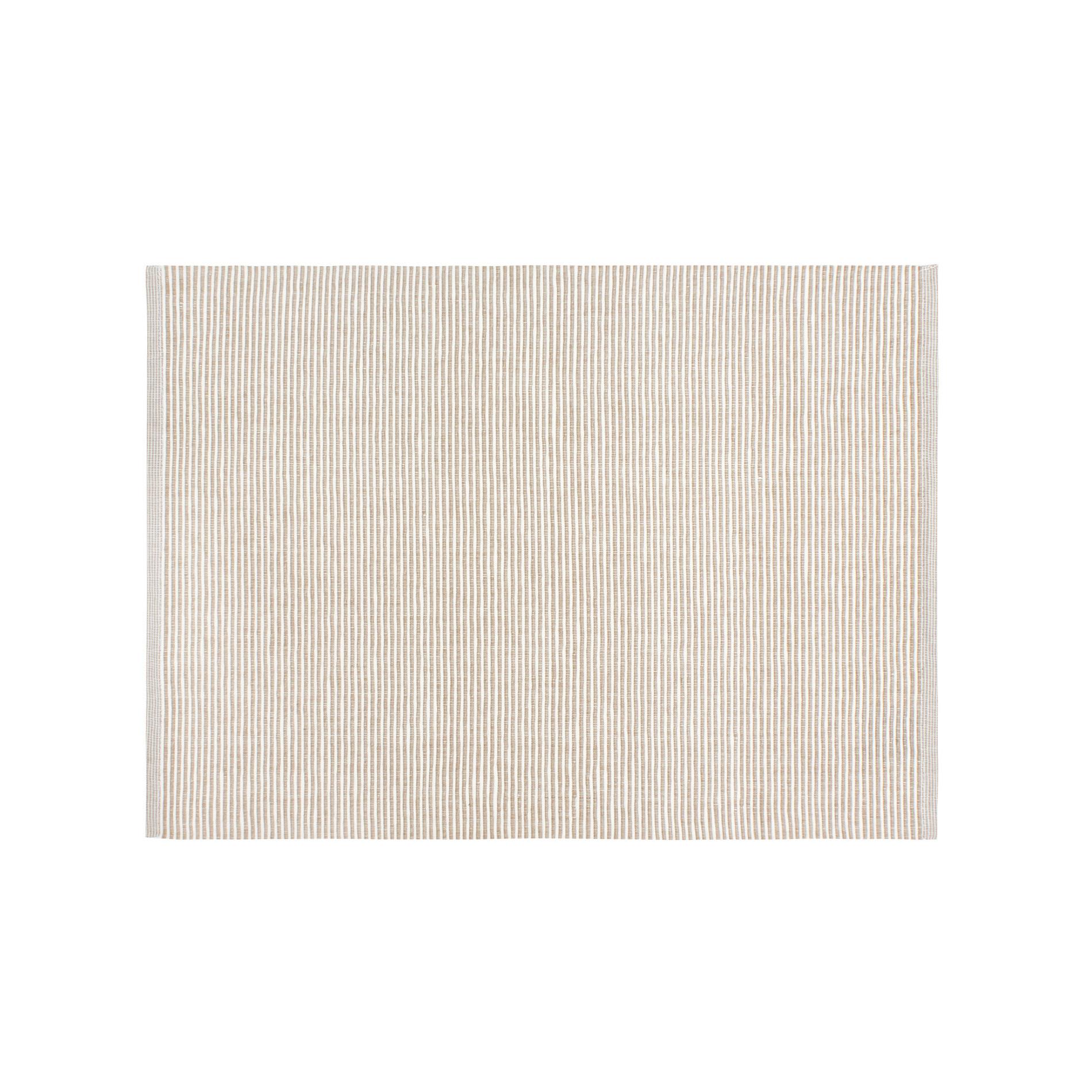 Tovaglietta in costina di cotone a righe, Bianco/Beige, large image number 0