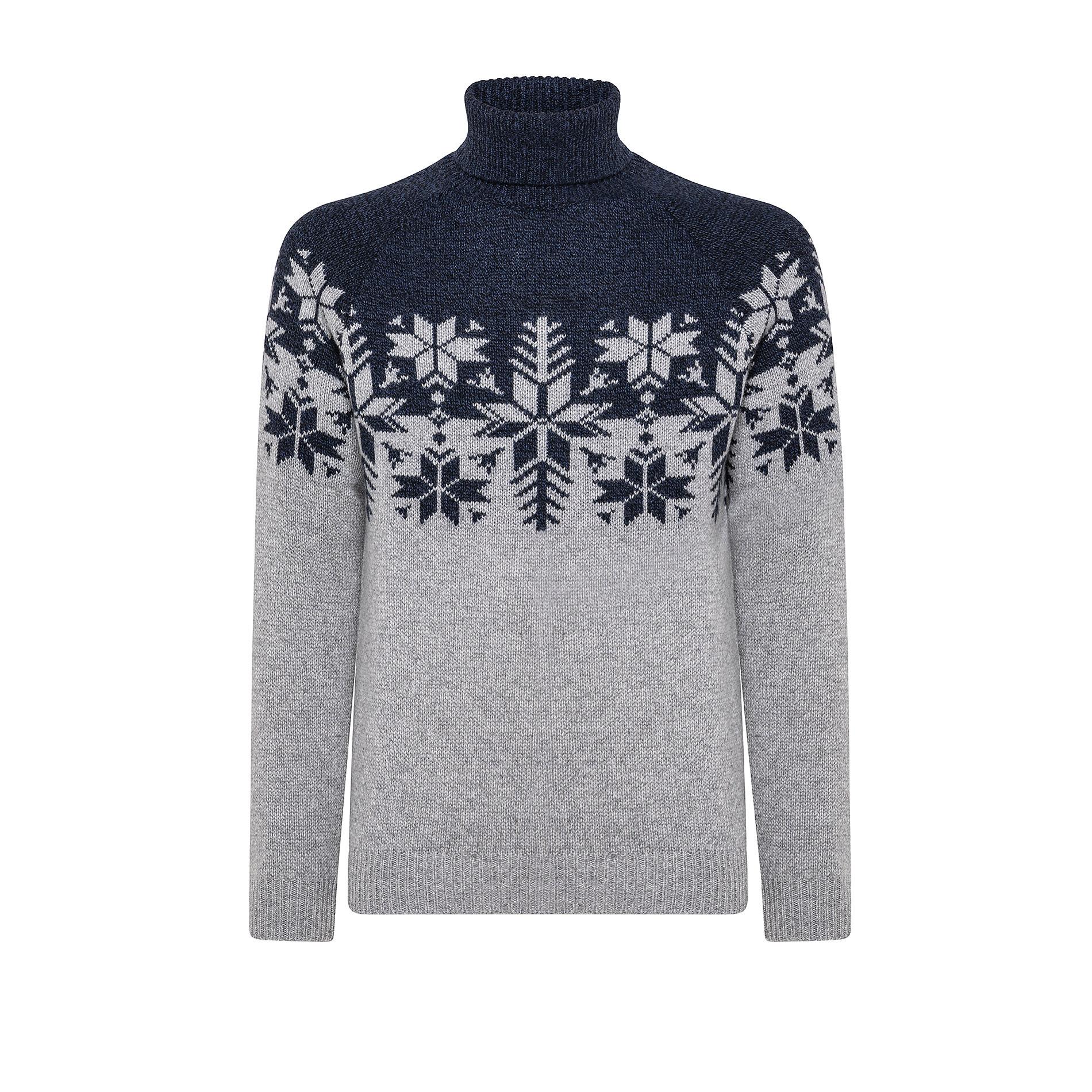 Pullover collo alto motivo natalizio, Blu, large image number 0