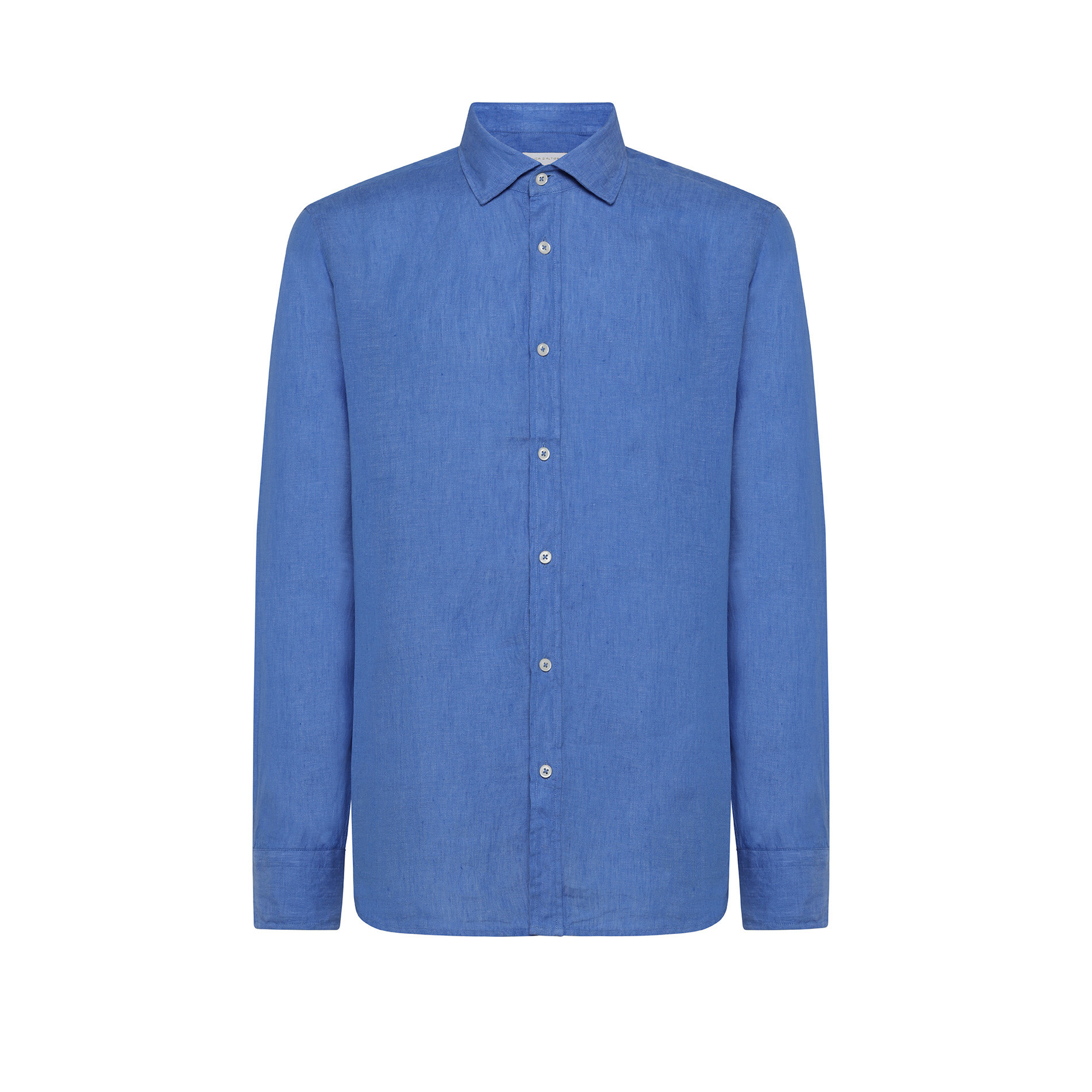 Camicia puro lino tailor fit Luca D'Altieri, Azzurro scuro, large image number 0