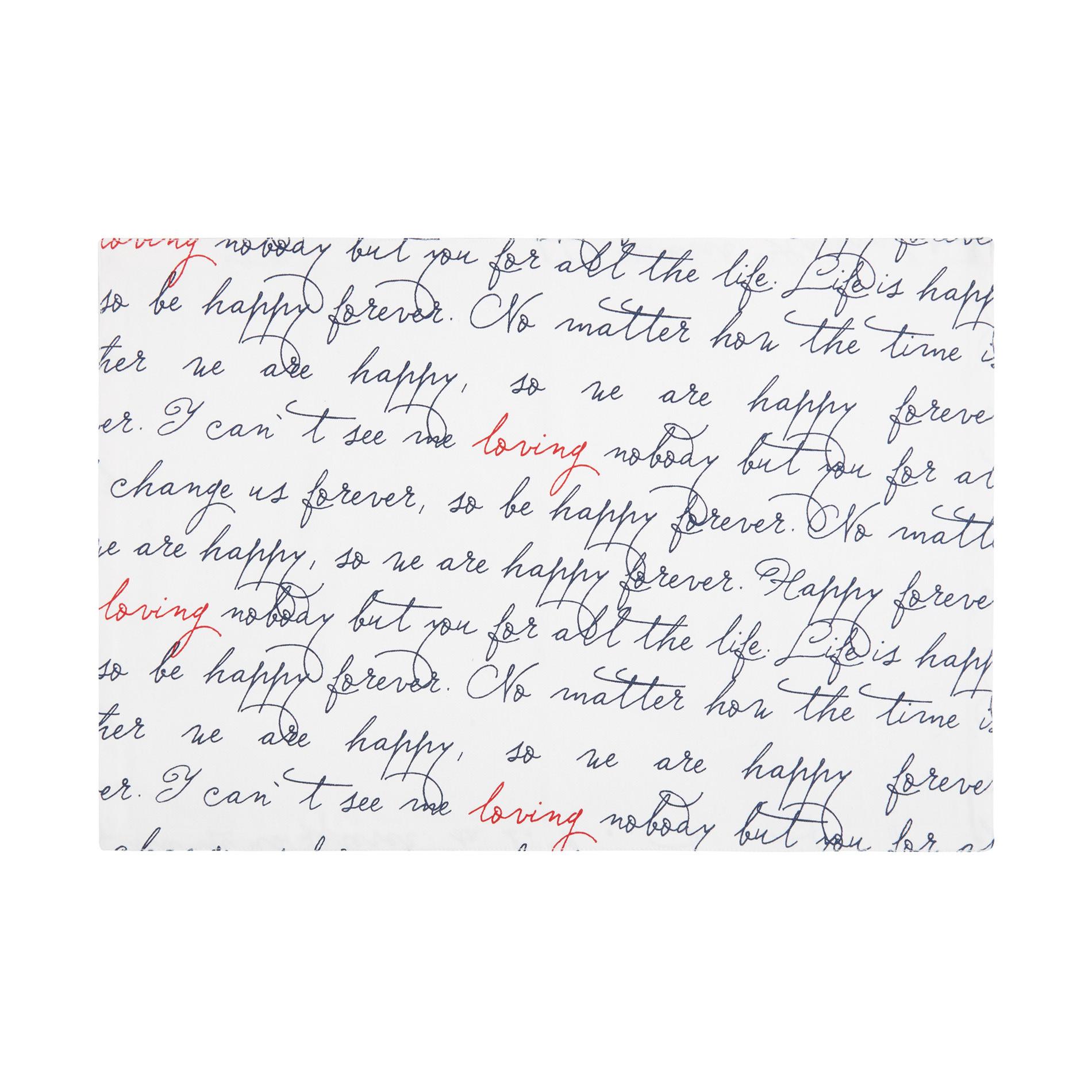 Tovaglietta twill di cotone stampa lettering, Bianco, large image number 0