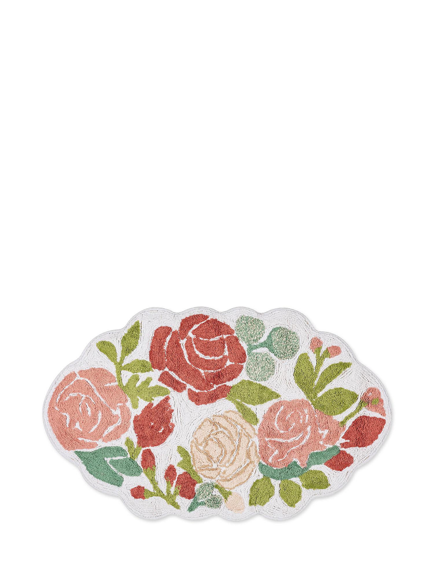 Tappeto bagno cotone sagomato motivo fiori, Rosa, large image number 0