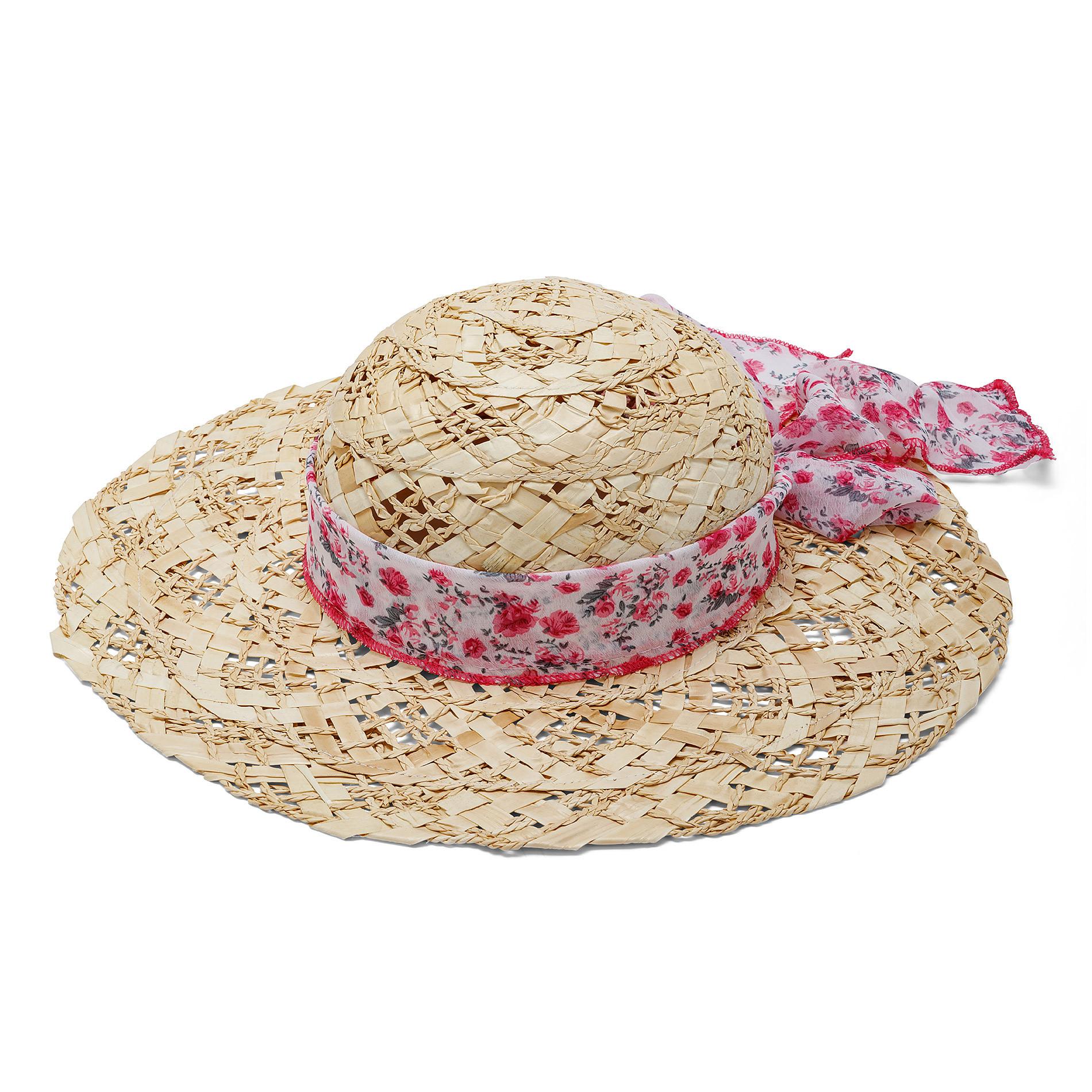 Cappello di paglia con foulard fantasia Koan, Beige, large image number 0