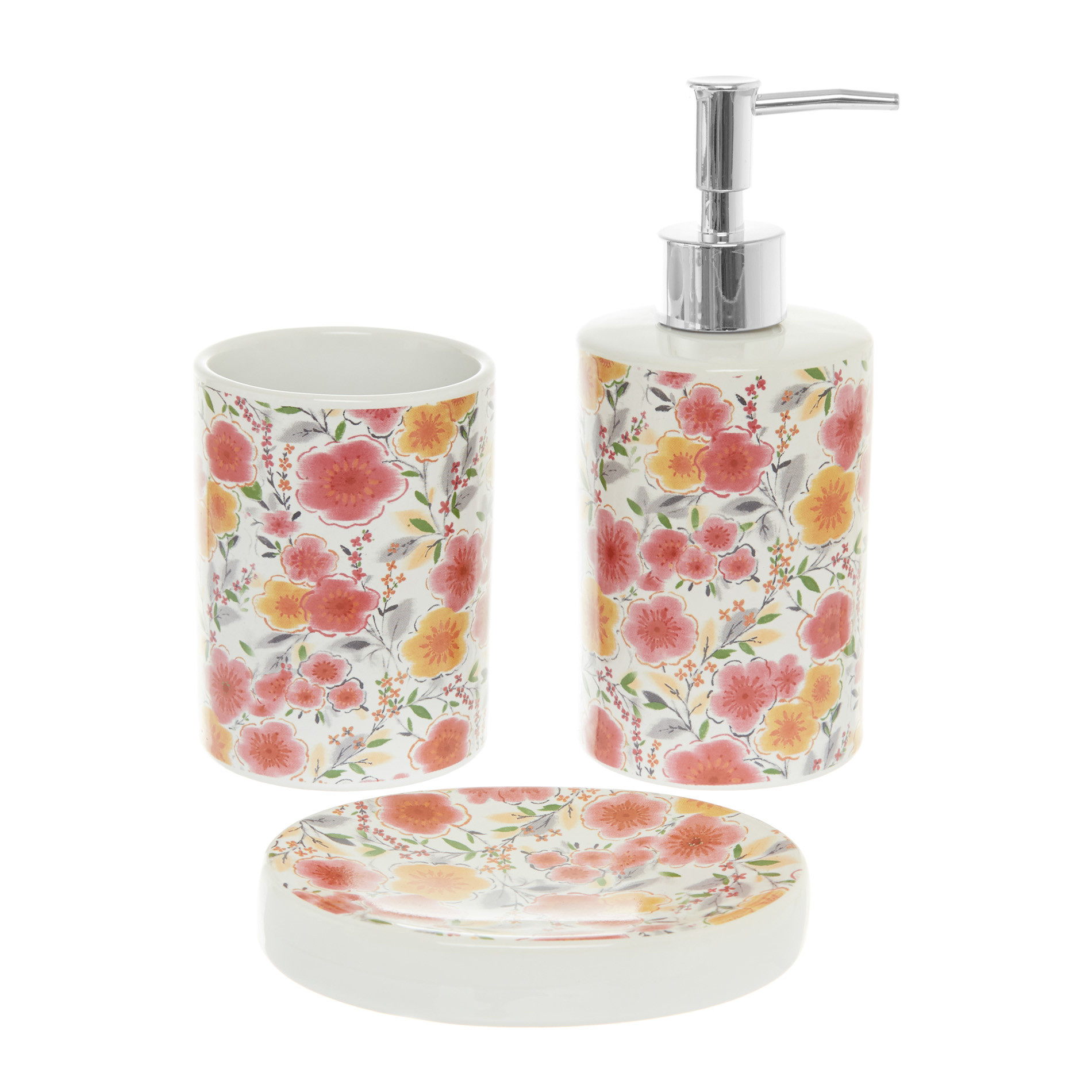 Set 3 accessori da bagno in ceramica motivo fiori, Multicolor, large image number 0
