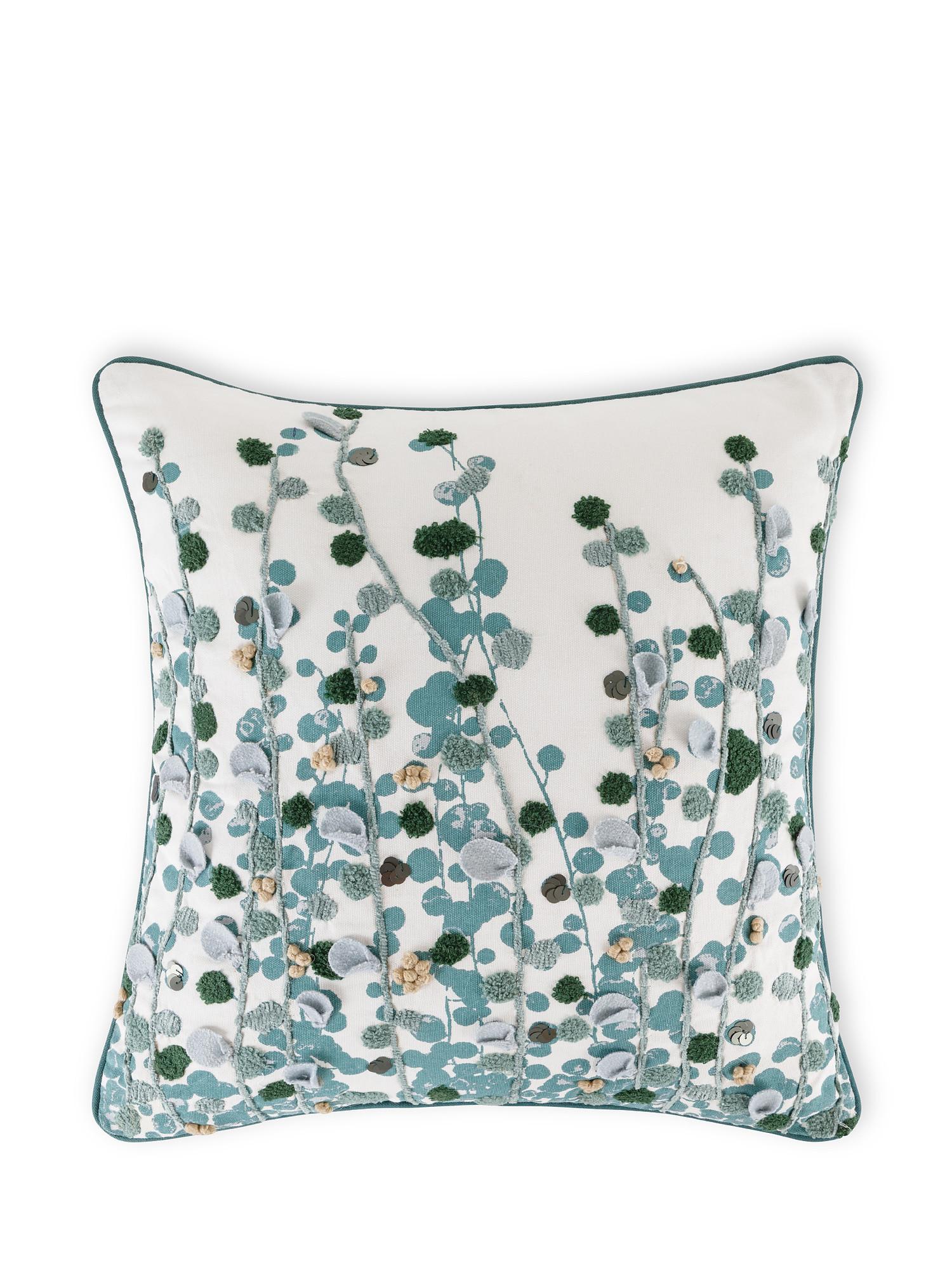 Cuscino cotone ricamo eucalipto 45x45cm, Multicolor, large image number 0