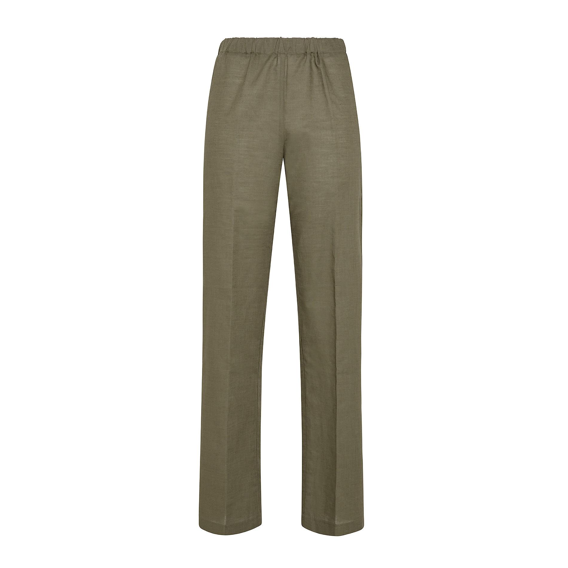 Pantalone misto lino con elastico Koan, Verde scuro, large image number 0