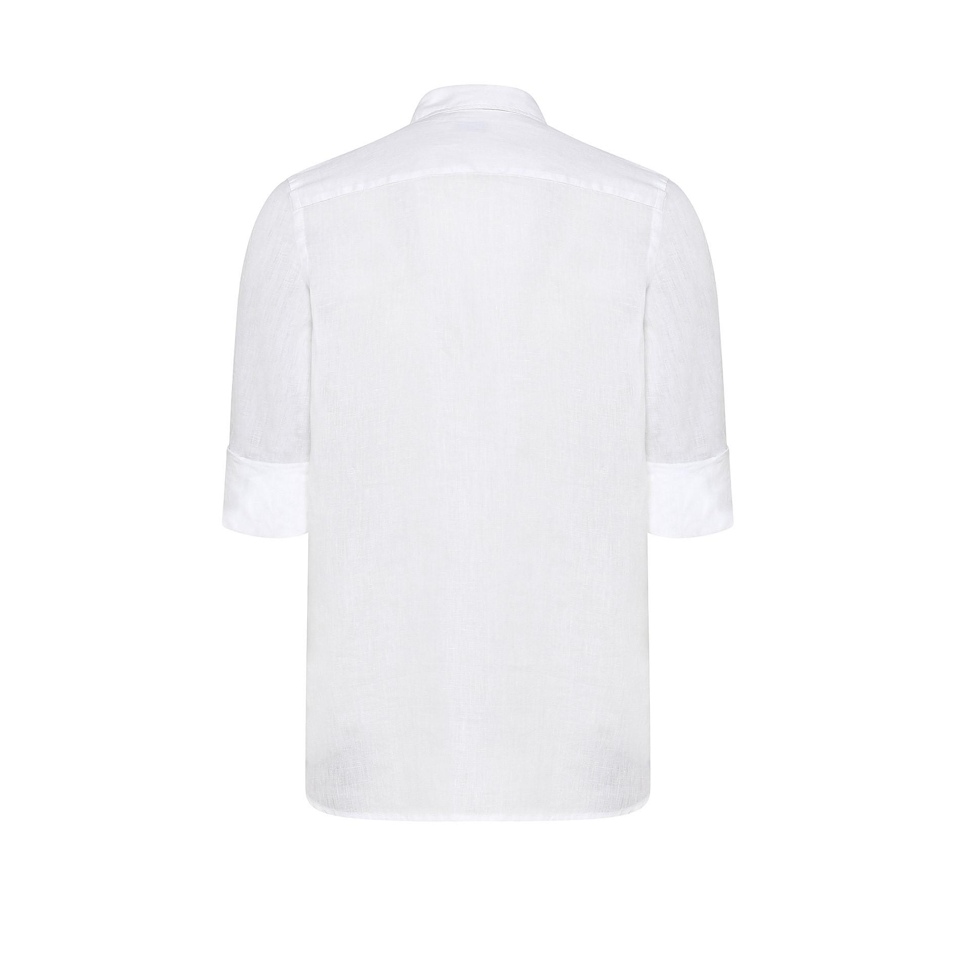 Camicia colletto classico puro lino JCT, Bianco, large image number 1