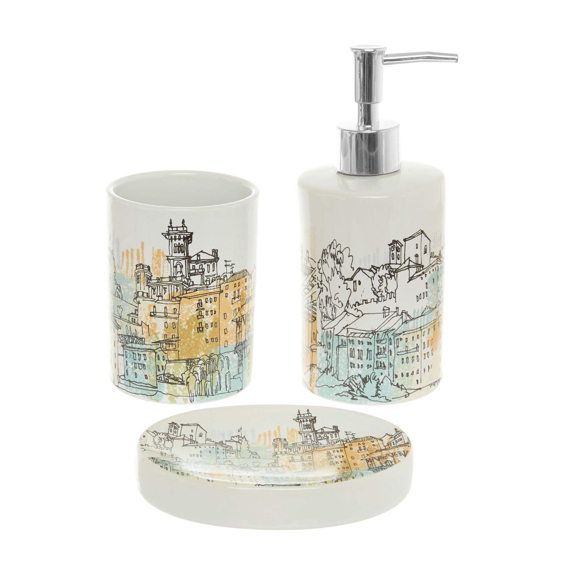 Set 3 accessori da bagno in ceramica motivo Paris, Multicolor, large image number 0