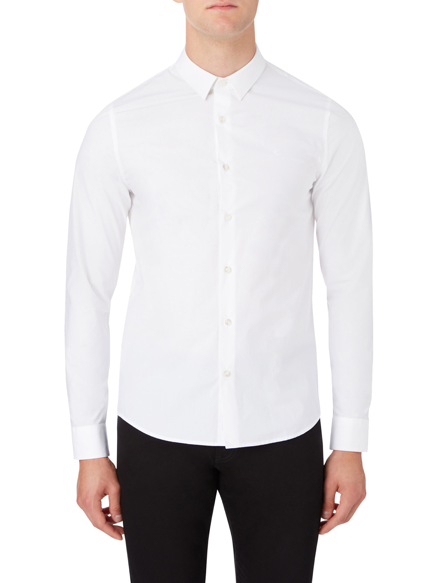 Camicia in cotone elasticizzato, Bianco, large image number 3