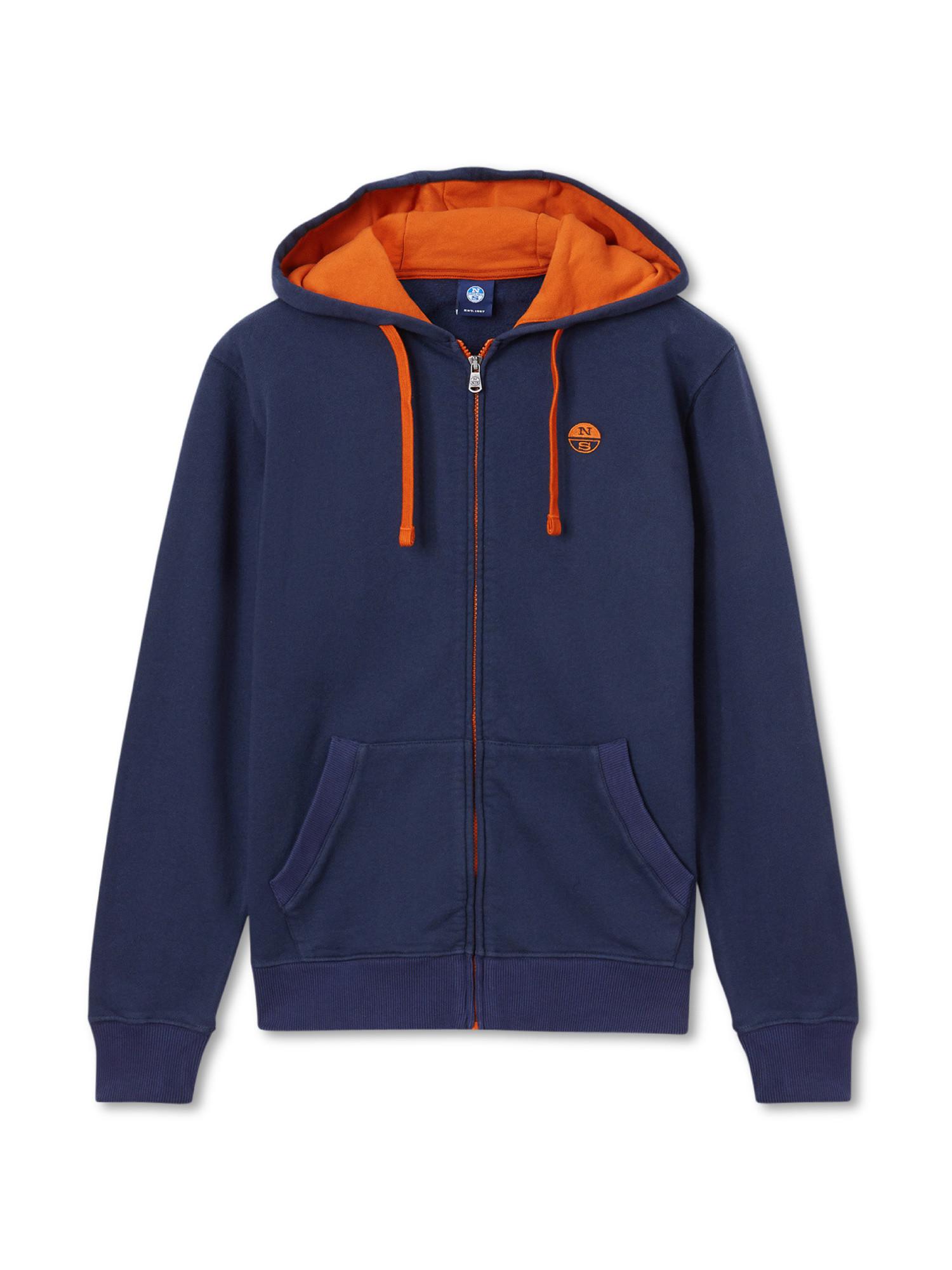 Felpa hoodie in cotone, Blu, large image number 0