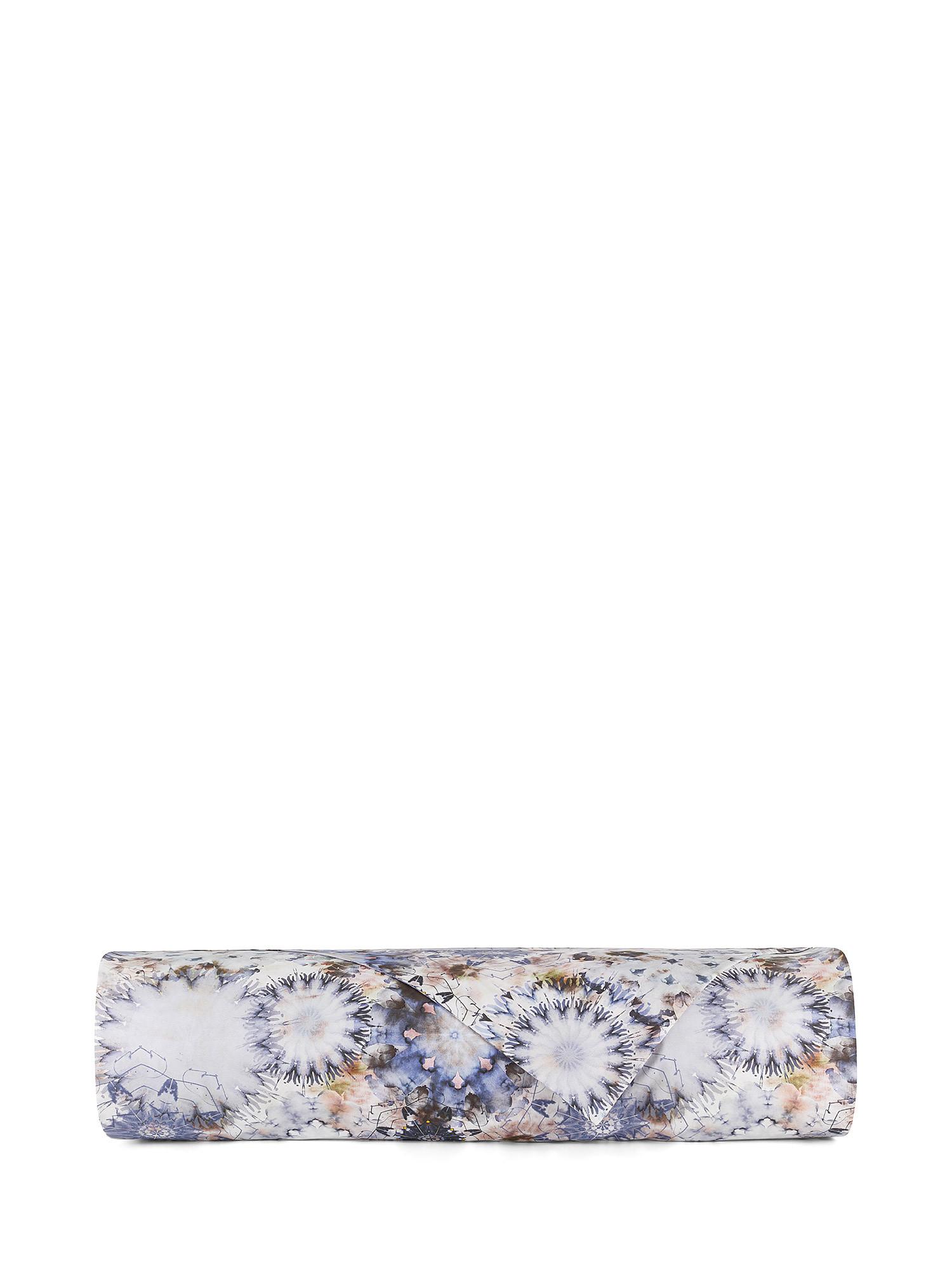 Lenzuolo liscio percalle di cotone fantasia floreale, Blu, large image number 1