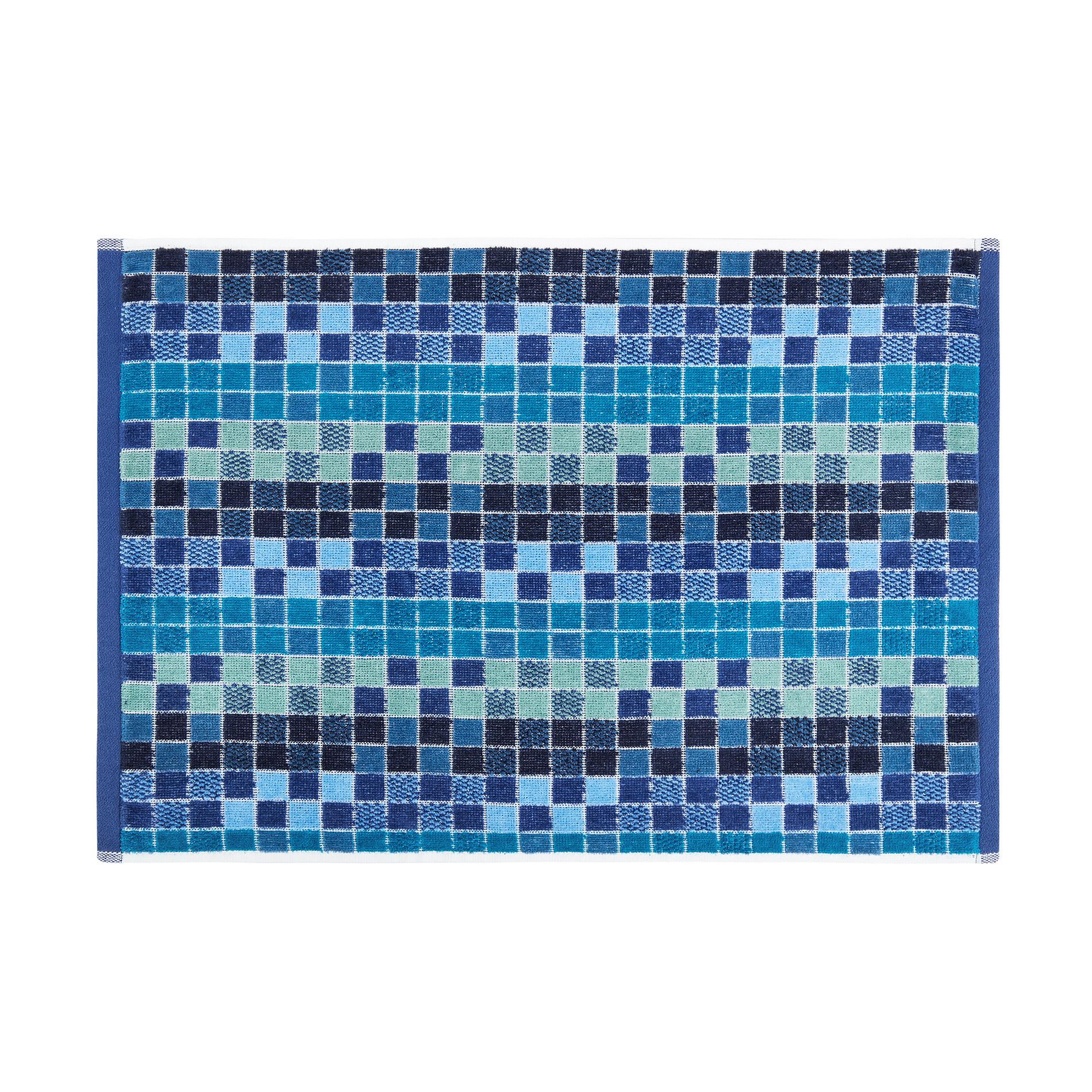 Asciugamano cotone velour fantasia mosaico, Blu, large image number 2