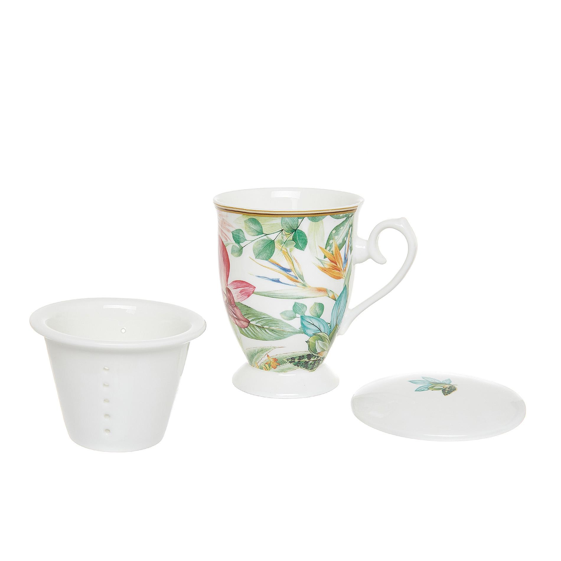 Tisaniera new bone china decoro amazzonia, Multicolor, large image number 1