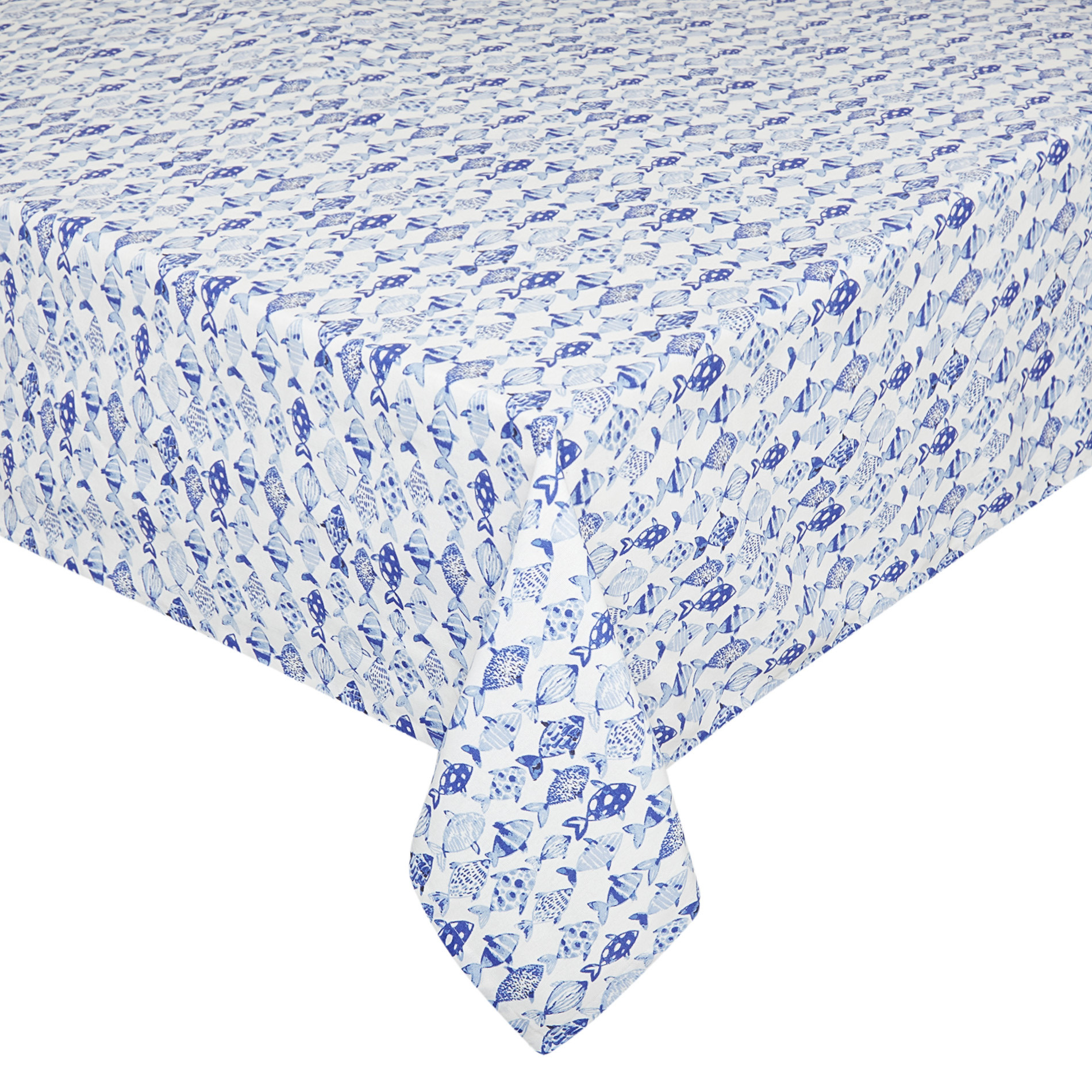 Tovaglia puro cotone stampa pesci, Azzurro, large image number 0