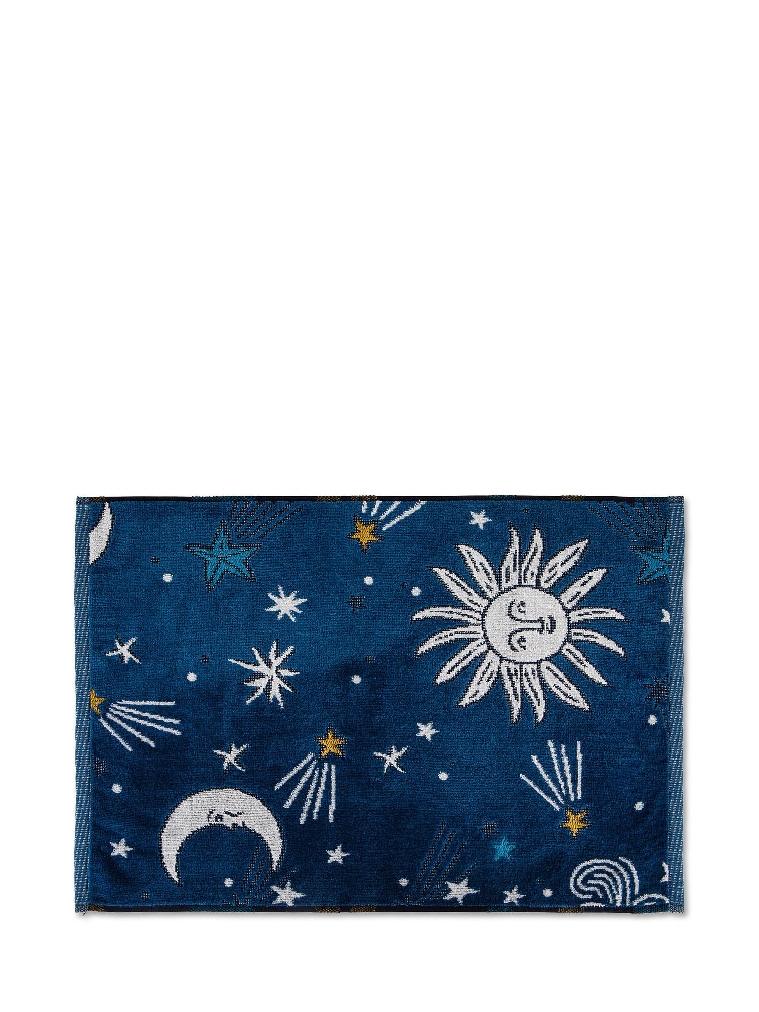 Asciugamano cotone velour motivo tarocchi, Blu, large image number 1