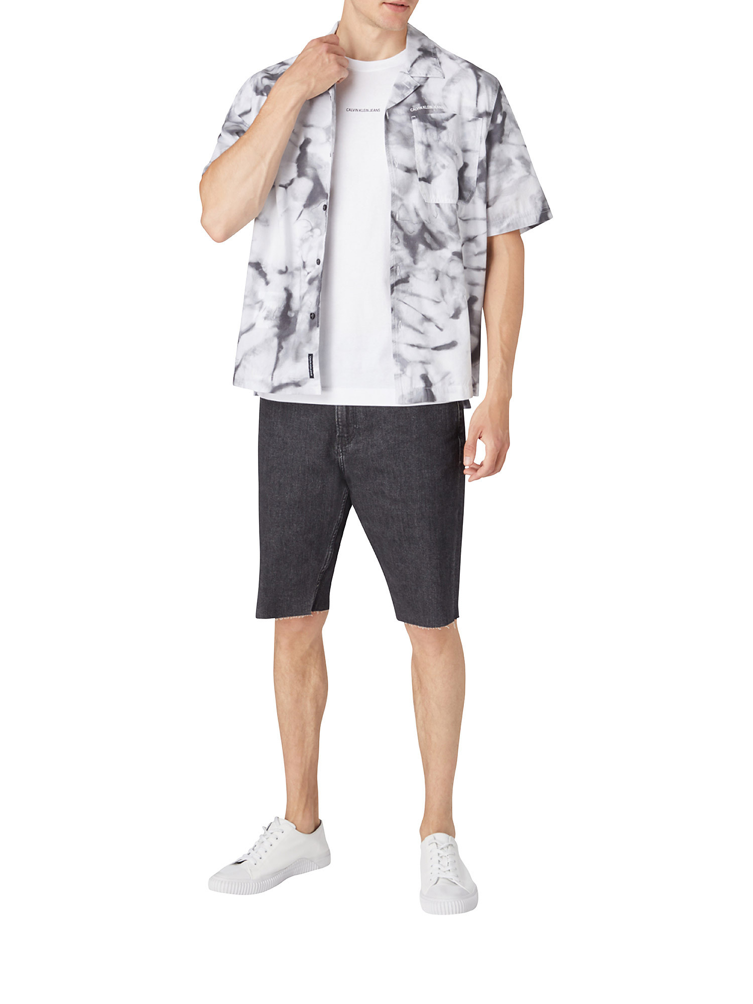 T-shirt slim in cotone, Bianco, large image number 2