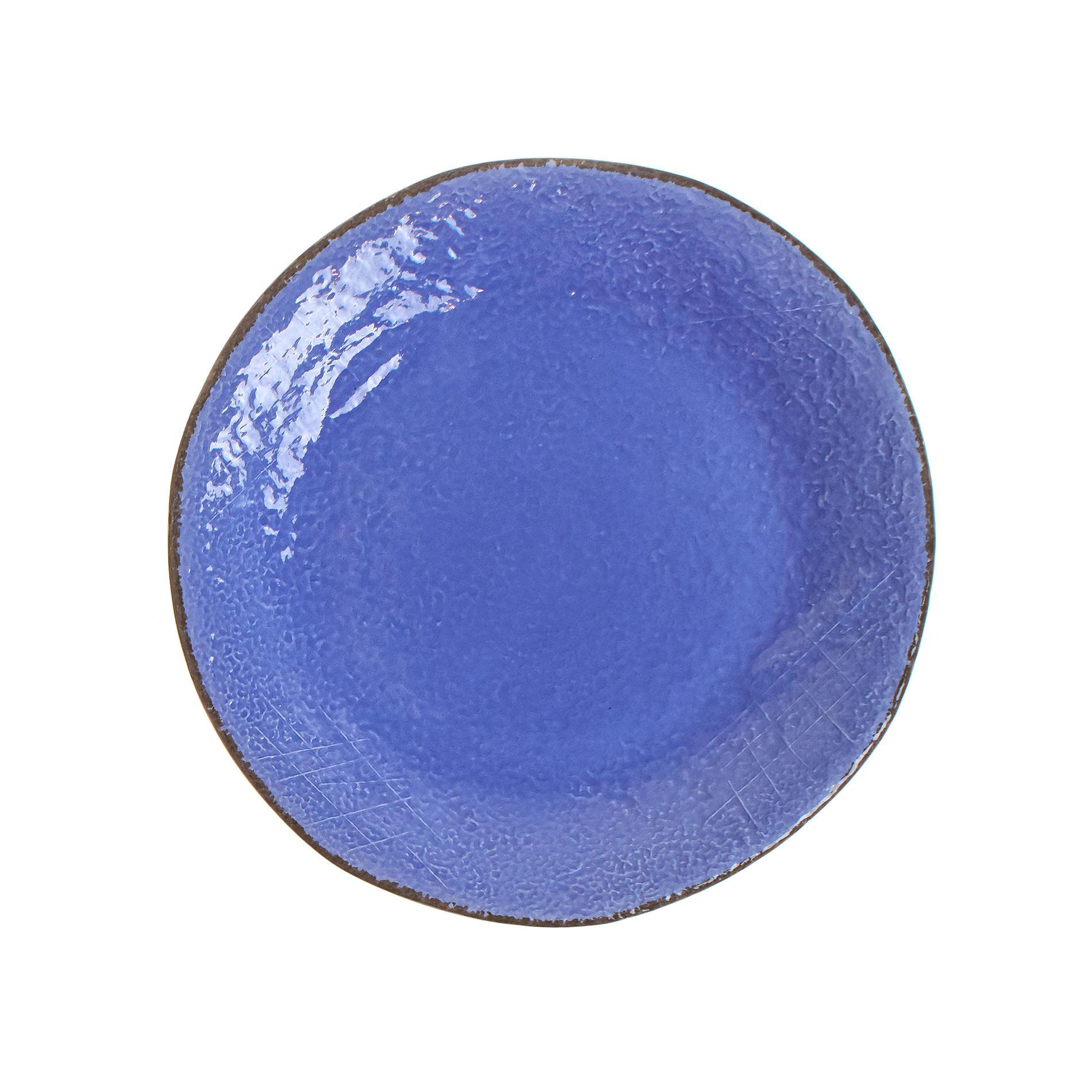 Piatto piano ceramica artigianale Preta, Azzurro, large image number 0