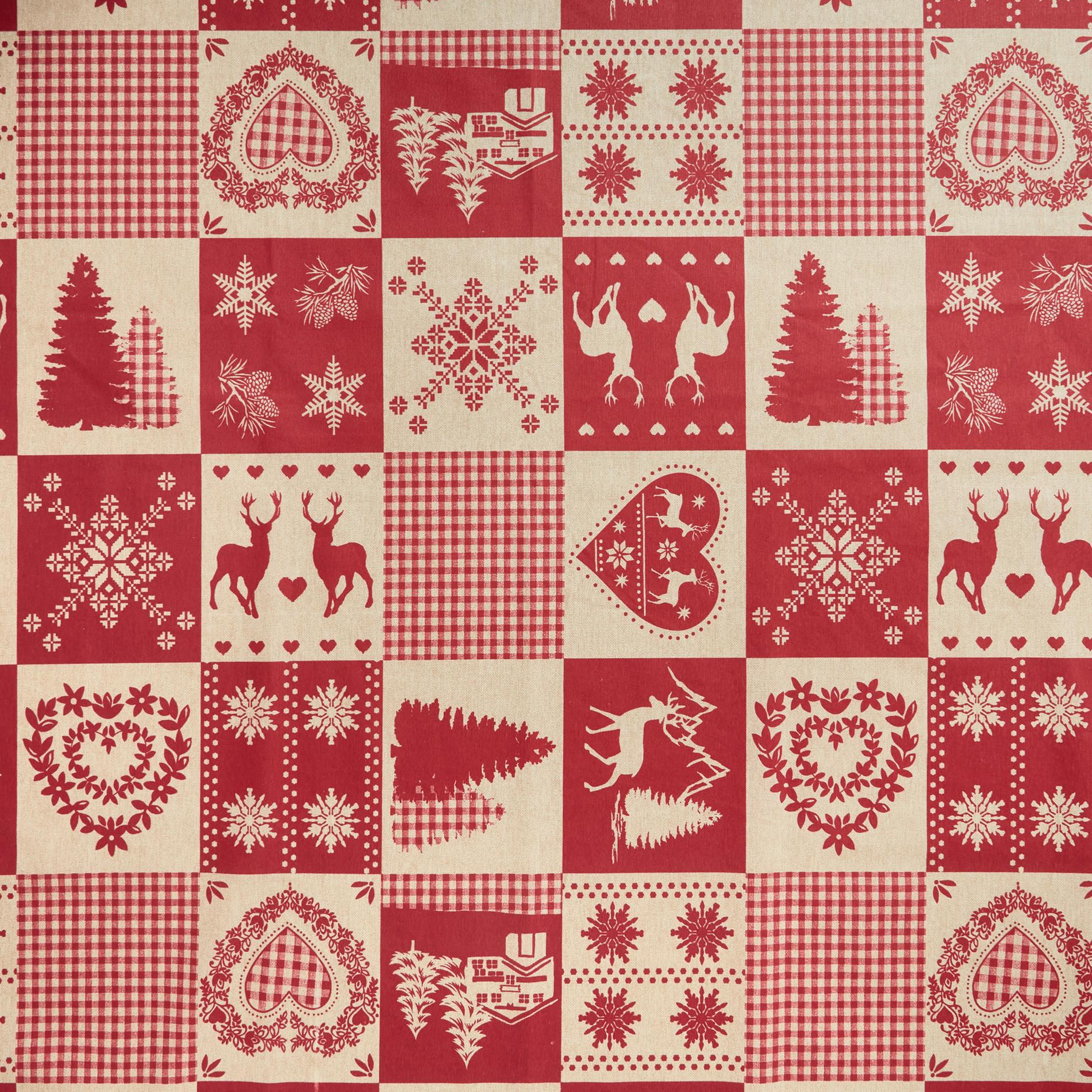 Tovaglia tessuto idrorepellente stampa patchwork, Rosso, large image number 1
