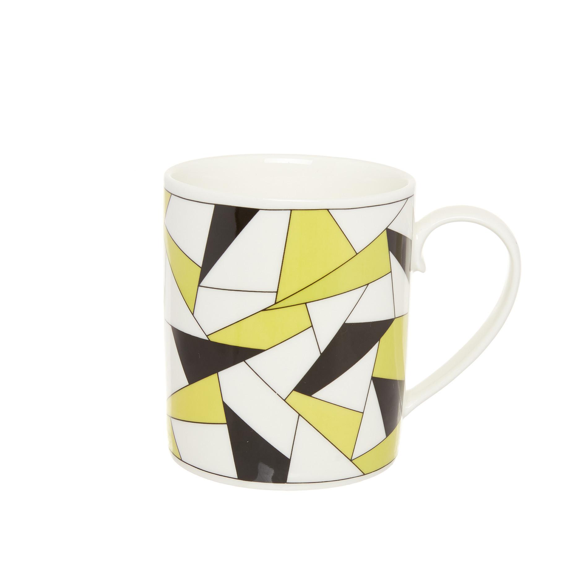 Mug porcellana decoro geometrico, Bianco, large image number 0