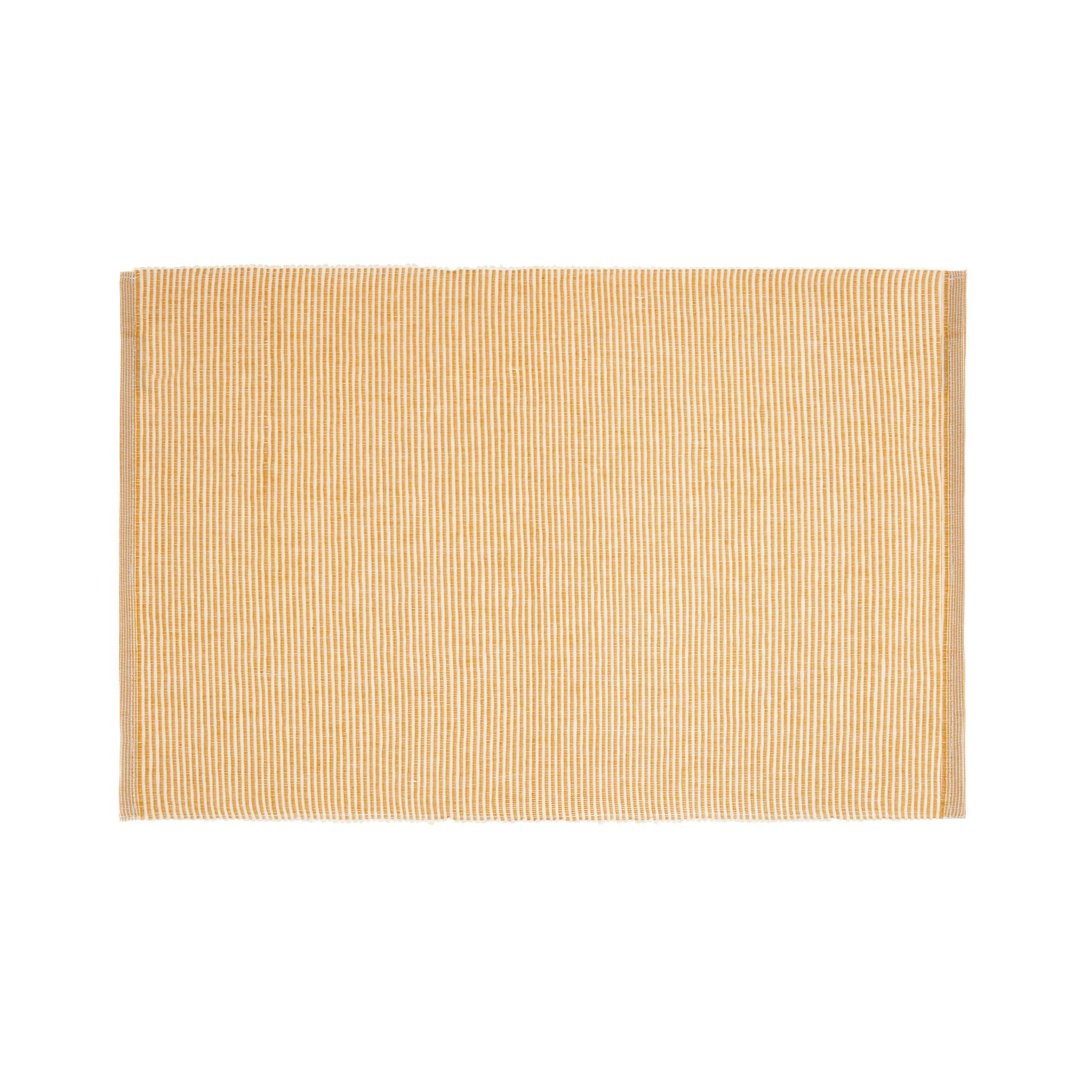 Tovaglietta in costina di cotone a righe, Bianco/Giallo, large image number 0