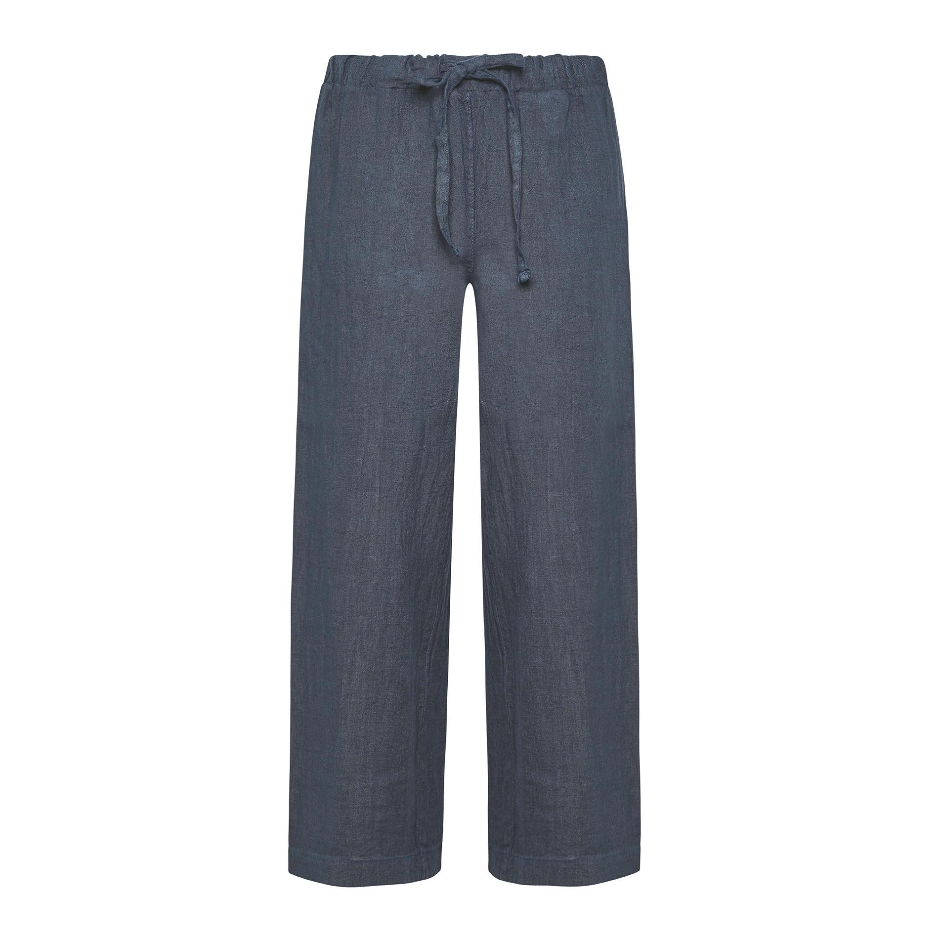 Pantalone ampio in puro lino tinta unita, Blu, large image number 0