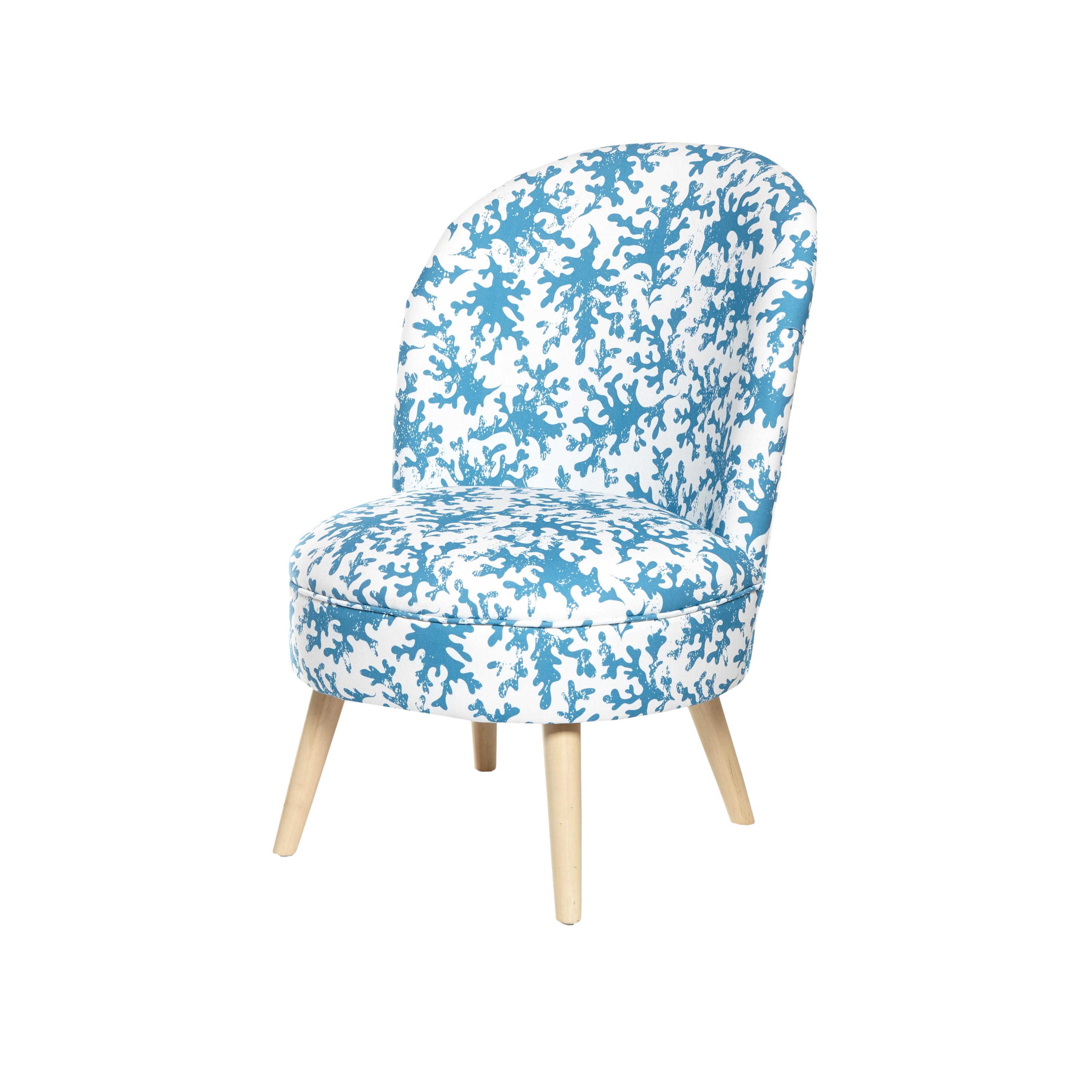 Poltroncina in cotone e legno Blucoral, Bianco/Blu, large image number 0