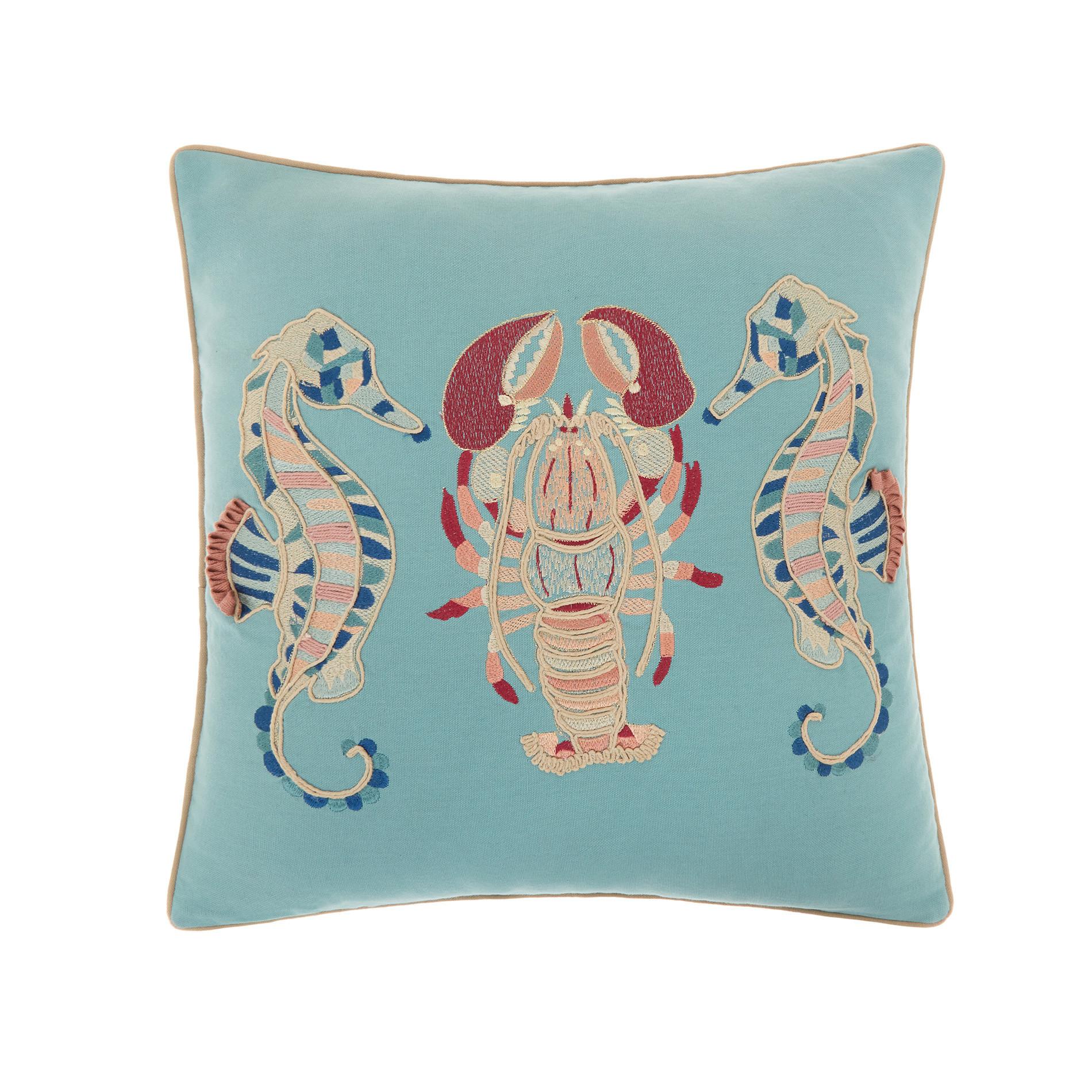 Cuscino ricamo animali marini 45x45cm, Azzurro, large image number 0