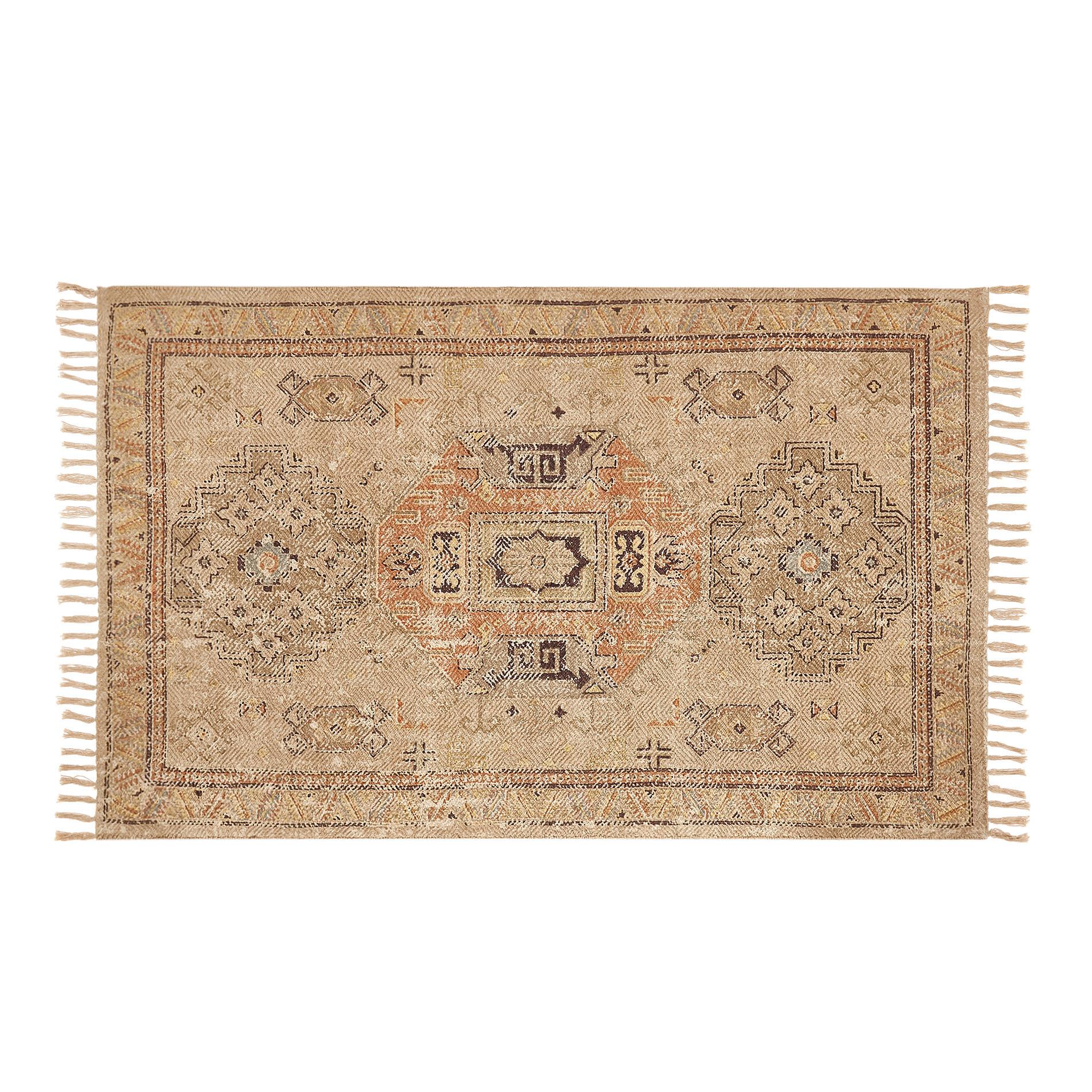 Tappeto cotone motivo etnico, Beige, large image number 0