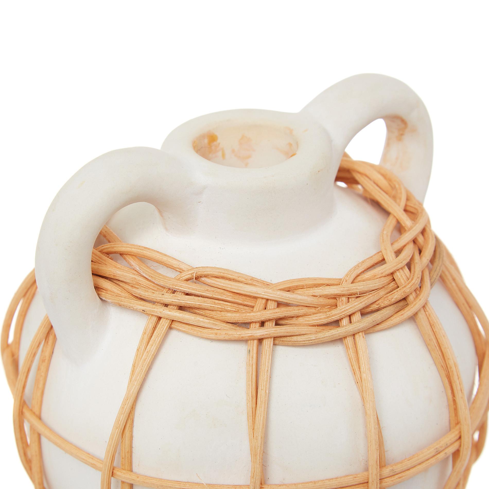 Candeliere ceramica deco rattan, Bianco, large image number 1