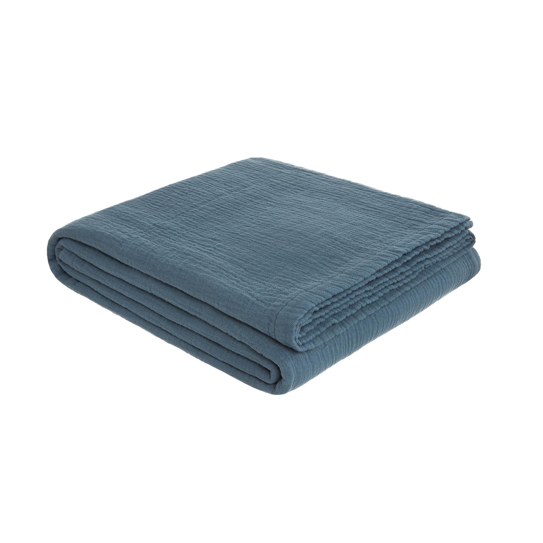 Copriletto garza di cotone tinta unita, Blu scuro, large image number 0
