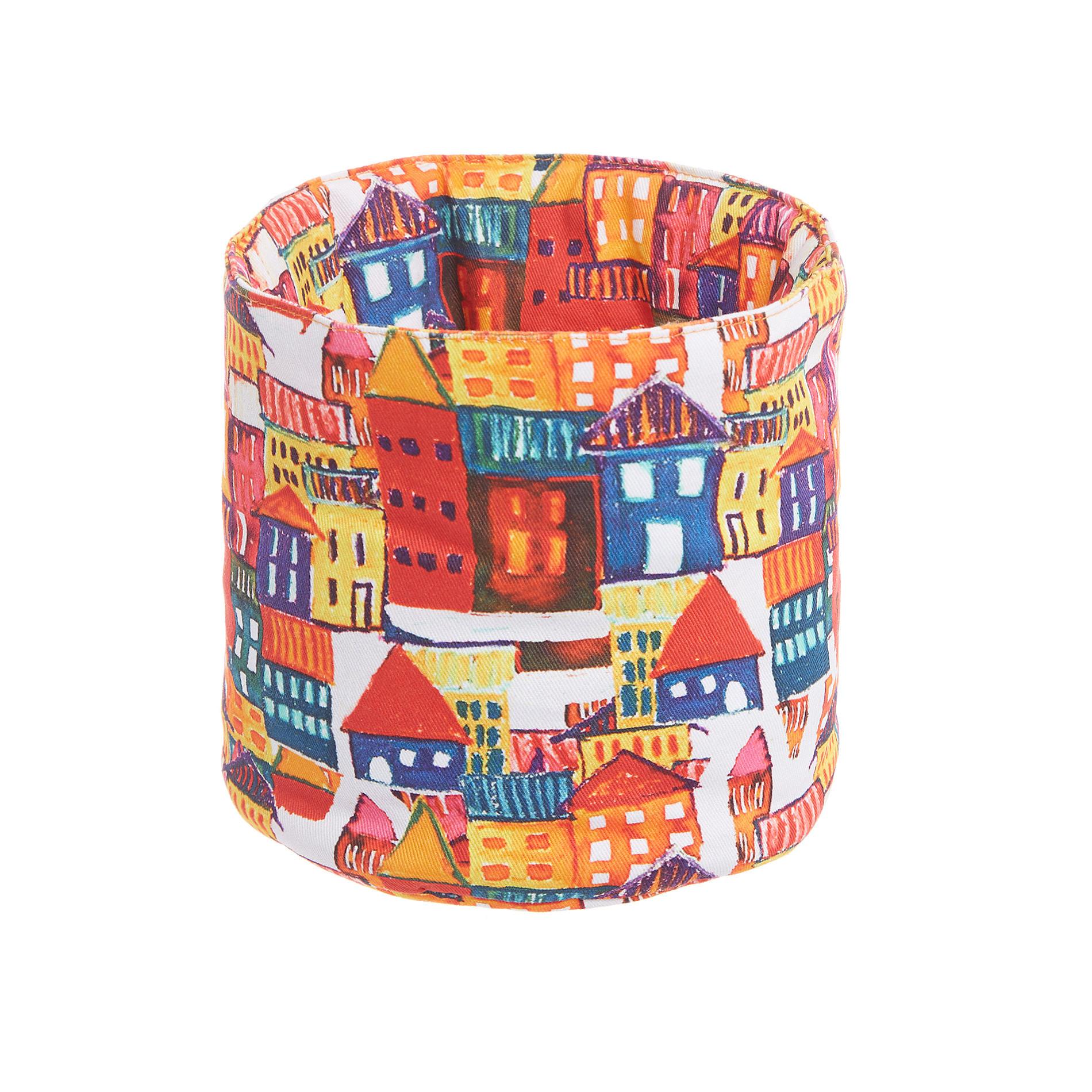 Cestino twill di cotone stampa casette, Multicolor, large image number 0