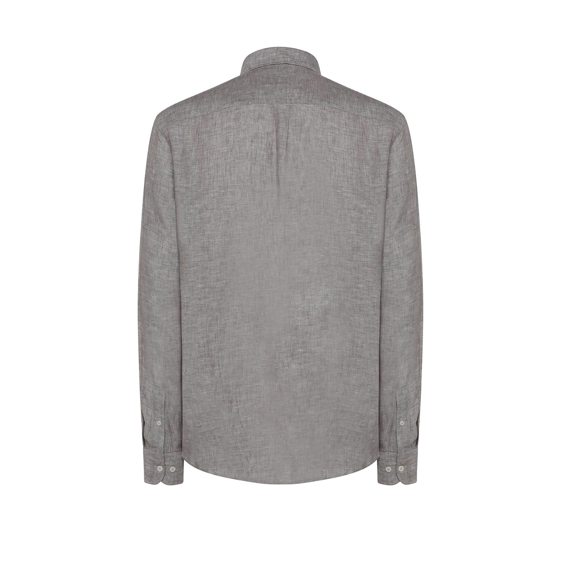 Camicia puro lino regular fit Luca D'Altieri, Marrone chiaro, large image number 1