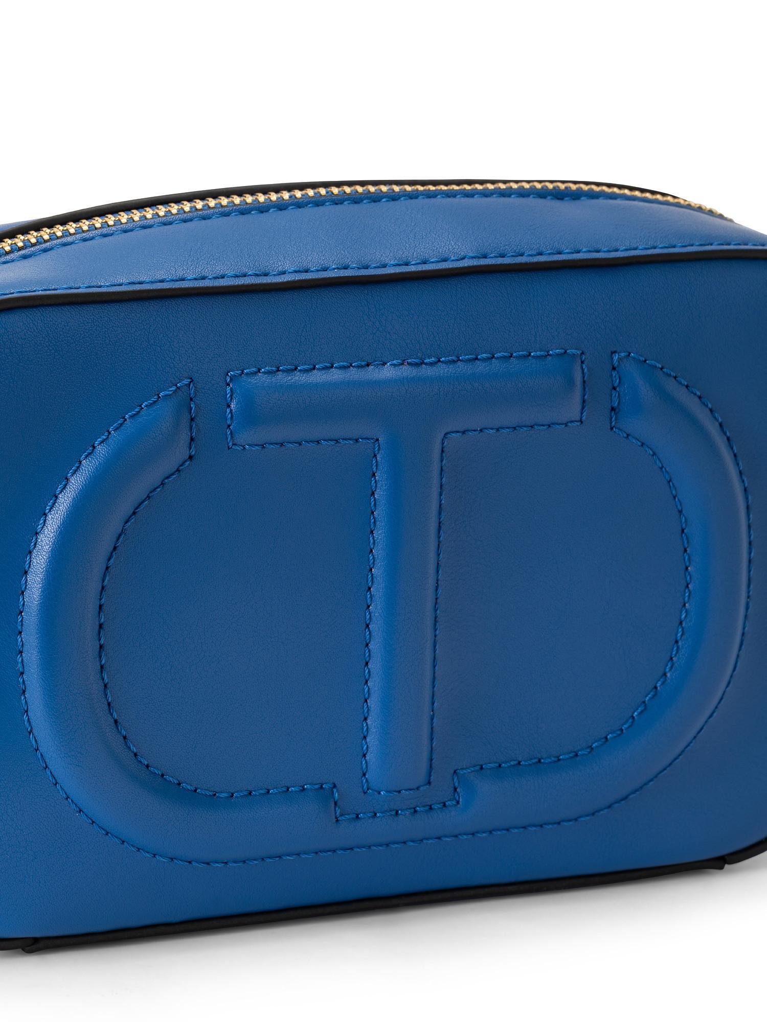 Tracolla piccola con zip e maxi logo trapuntato, Blu, large image number 2