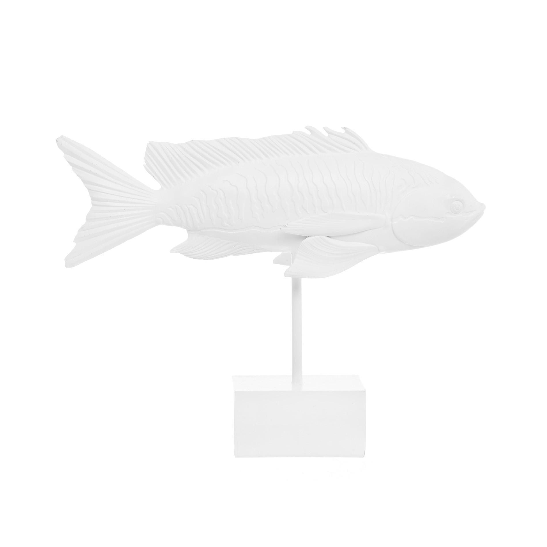Pesce su stand rifinito a mano, Bianco, large image number 0
