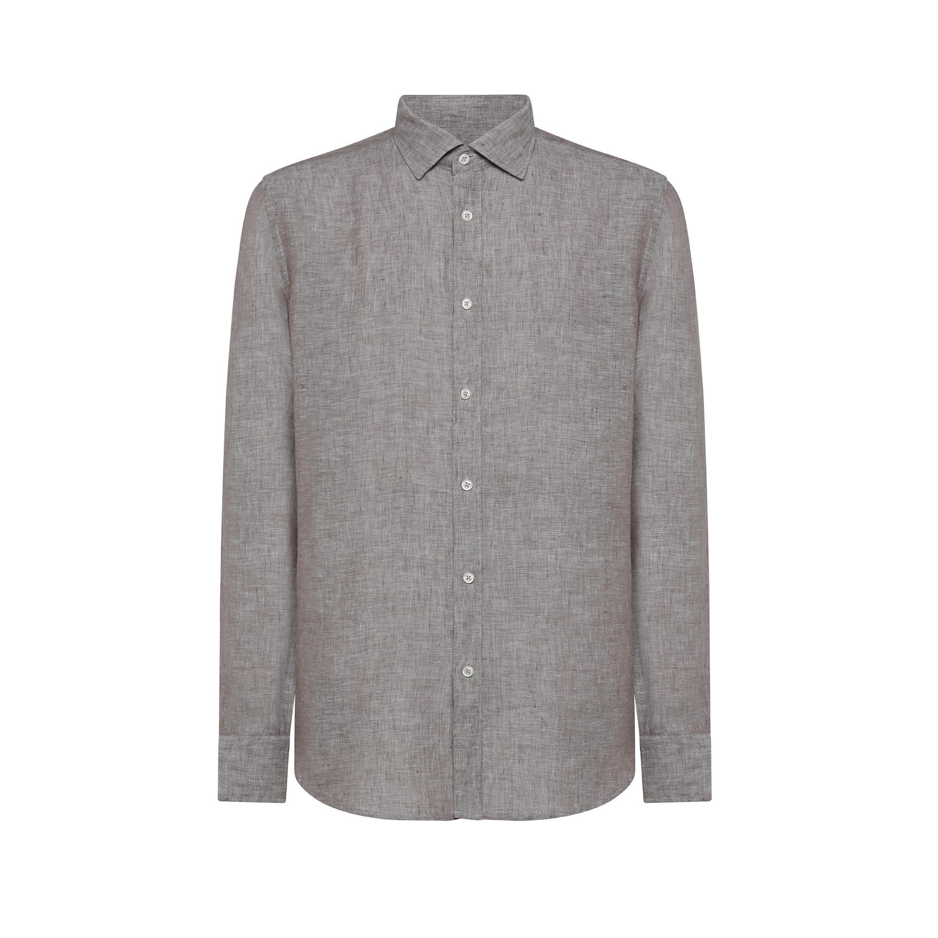 Camicia puro lino regular fit Luca D'Altieri, Marrone chiaro, large image number 0