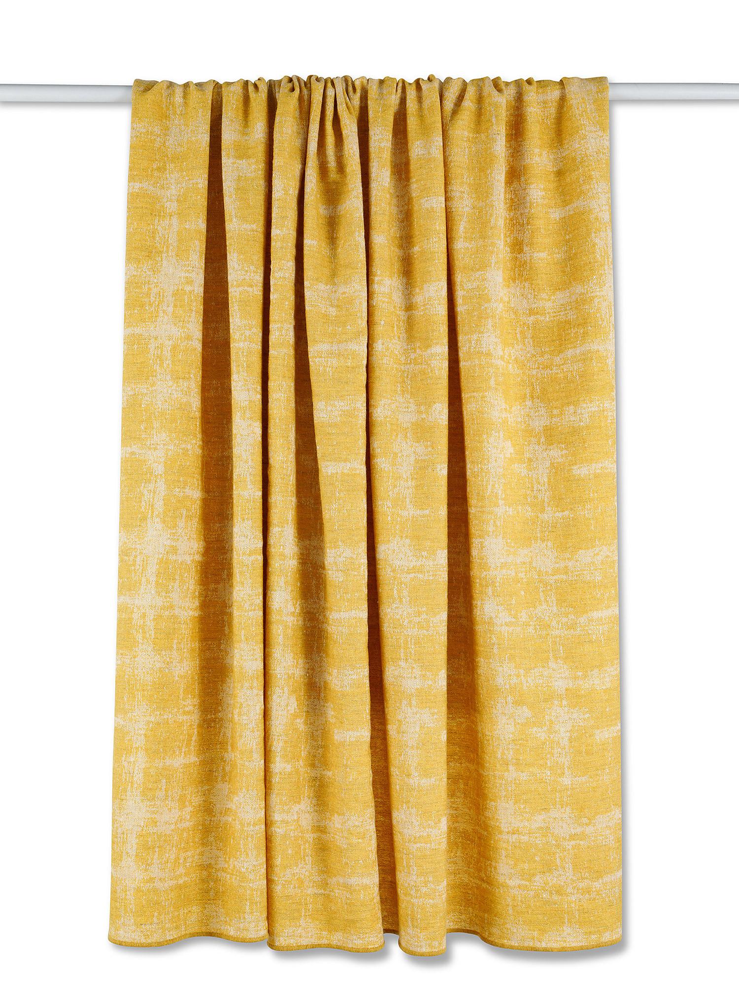 Plaid misto lana e lino, Giallo, large image number 1